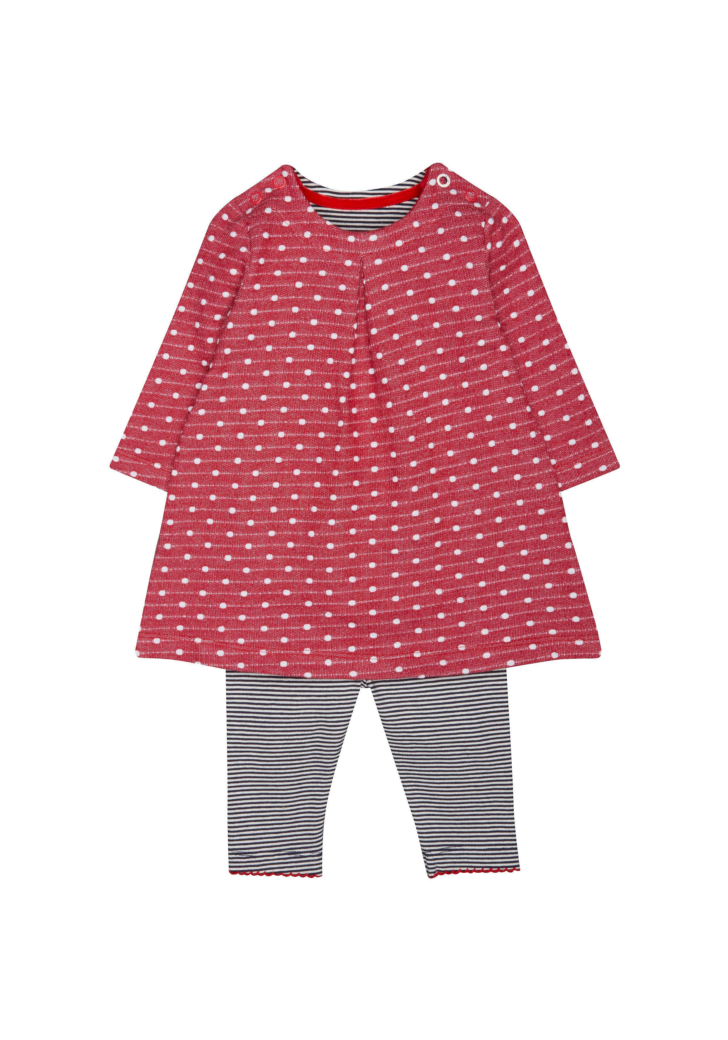 Mothercare   Girls Full Sleeves Dress And Legging Set Polka Dot Print - Red