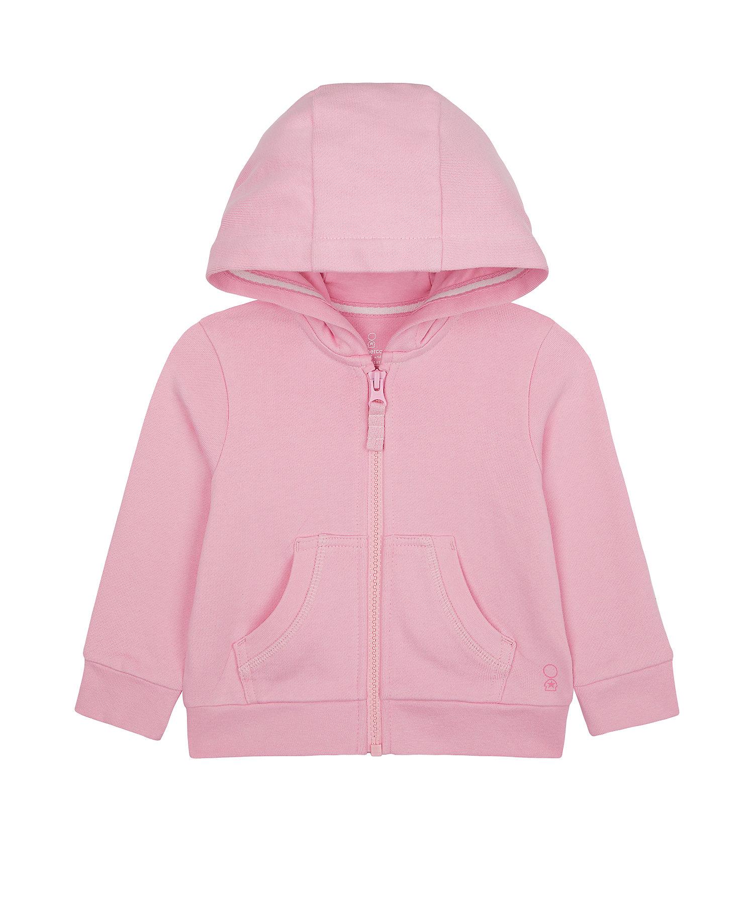 Mothercare | Girls Full Sleeves Hooded Sweatshirt Zip Through Opening - Pink