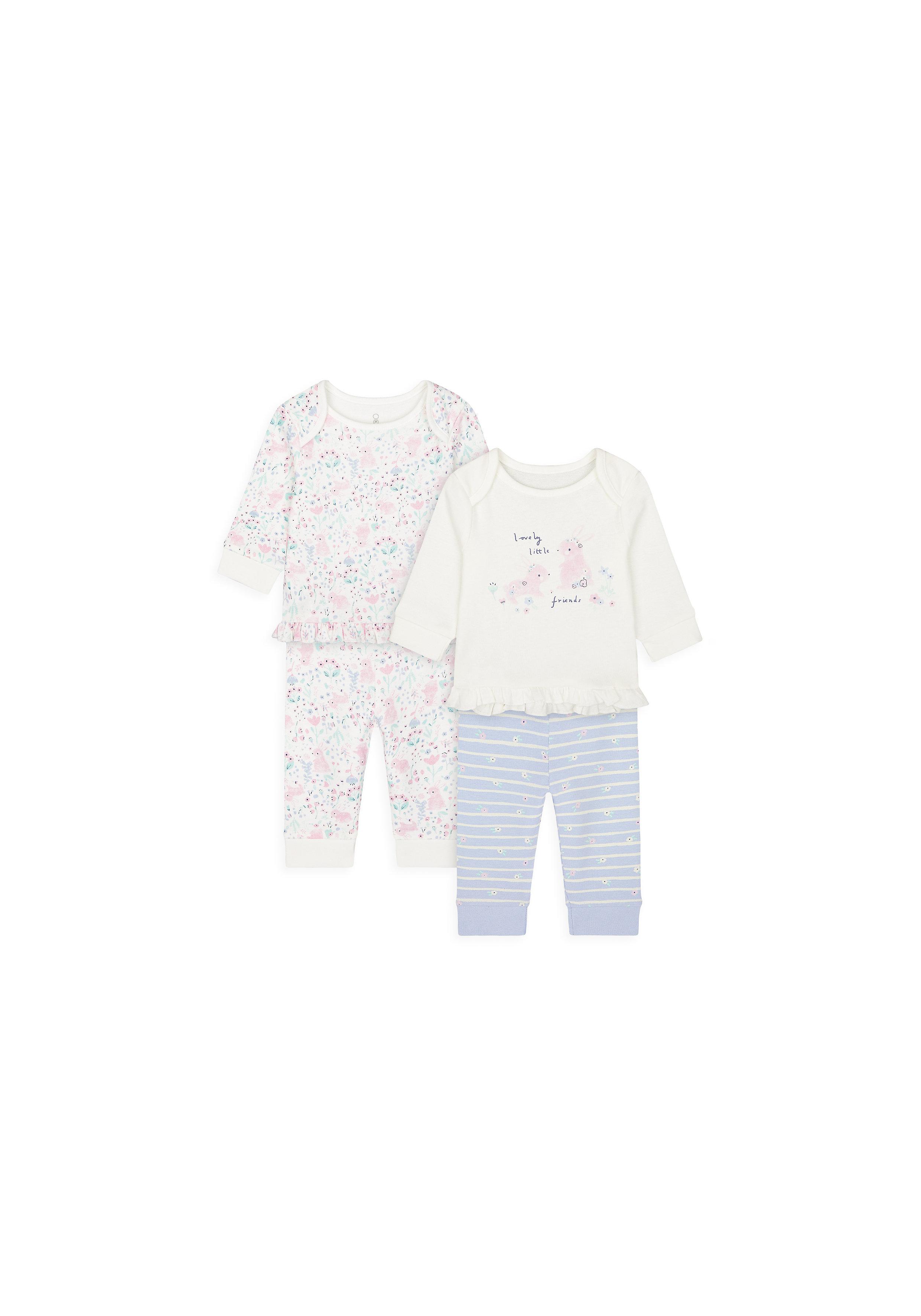 Mothercare | Girls Full Sleeves Pyjama Set Bunny Print - Pack Of 2 - Multicolor