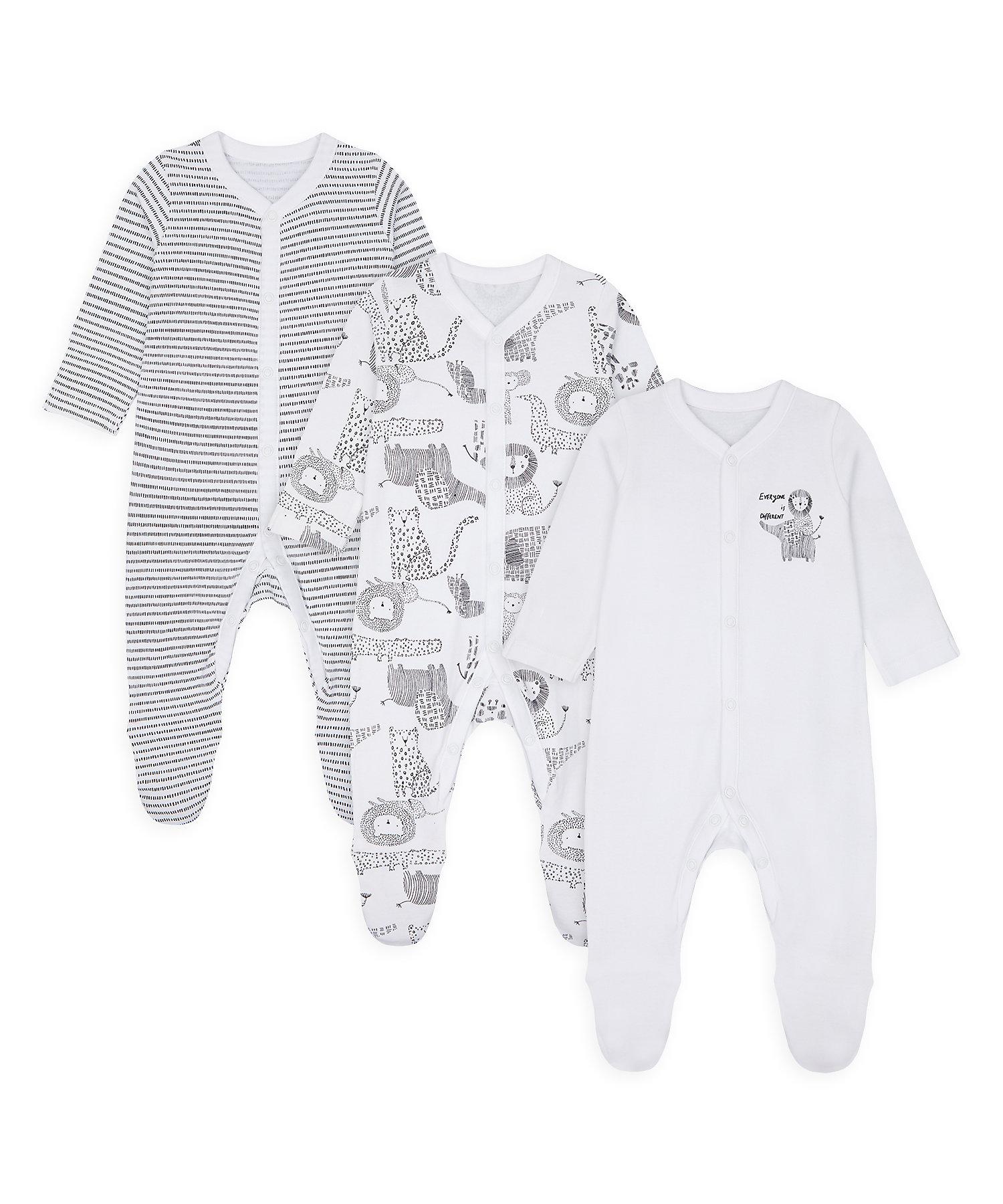 Mothercare   Unisex Full Sleeves Sleepsuit Animal Print - Pack Of 3 - White