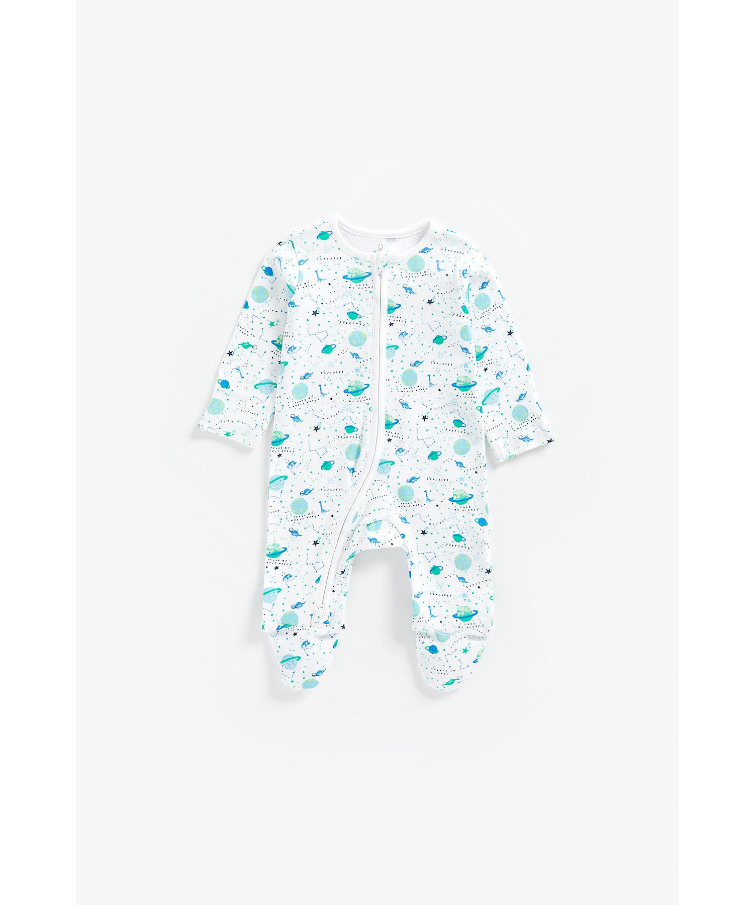 Mothercare | Boys Full Sleeves Romper Space Print - White