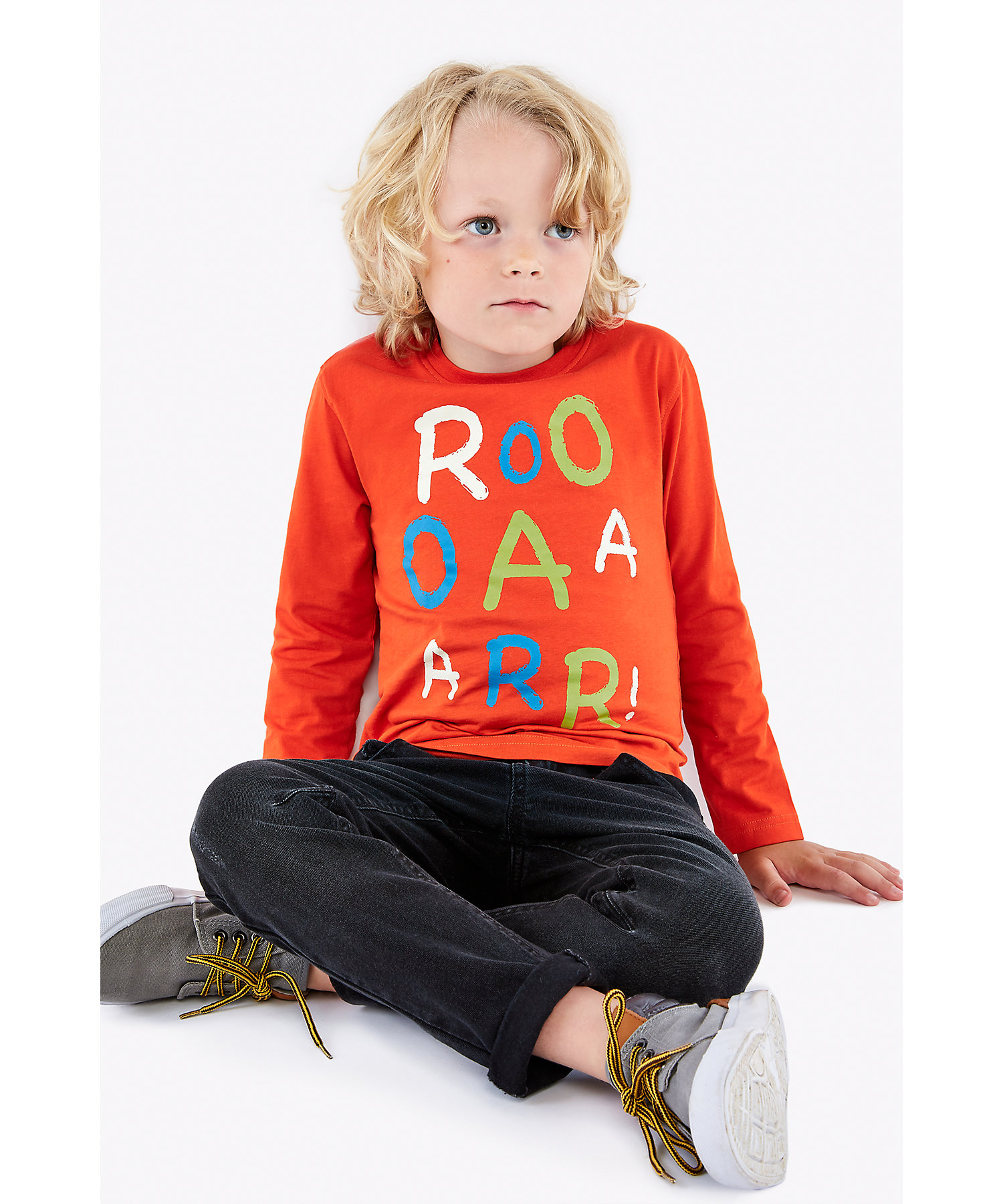 Mothercare | Boys Full Sleeves T-Shirt Text Print - Red