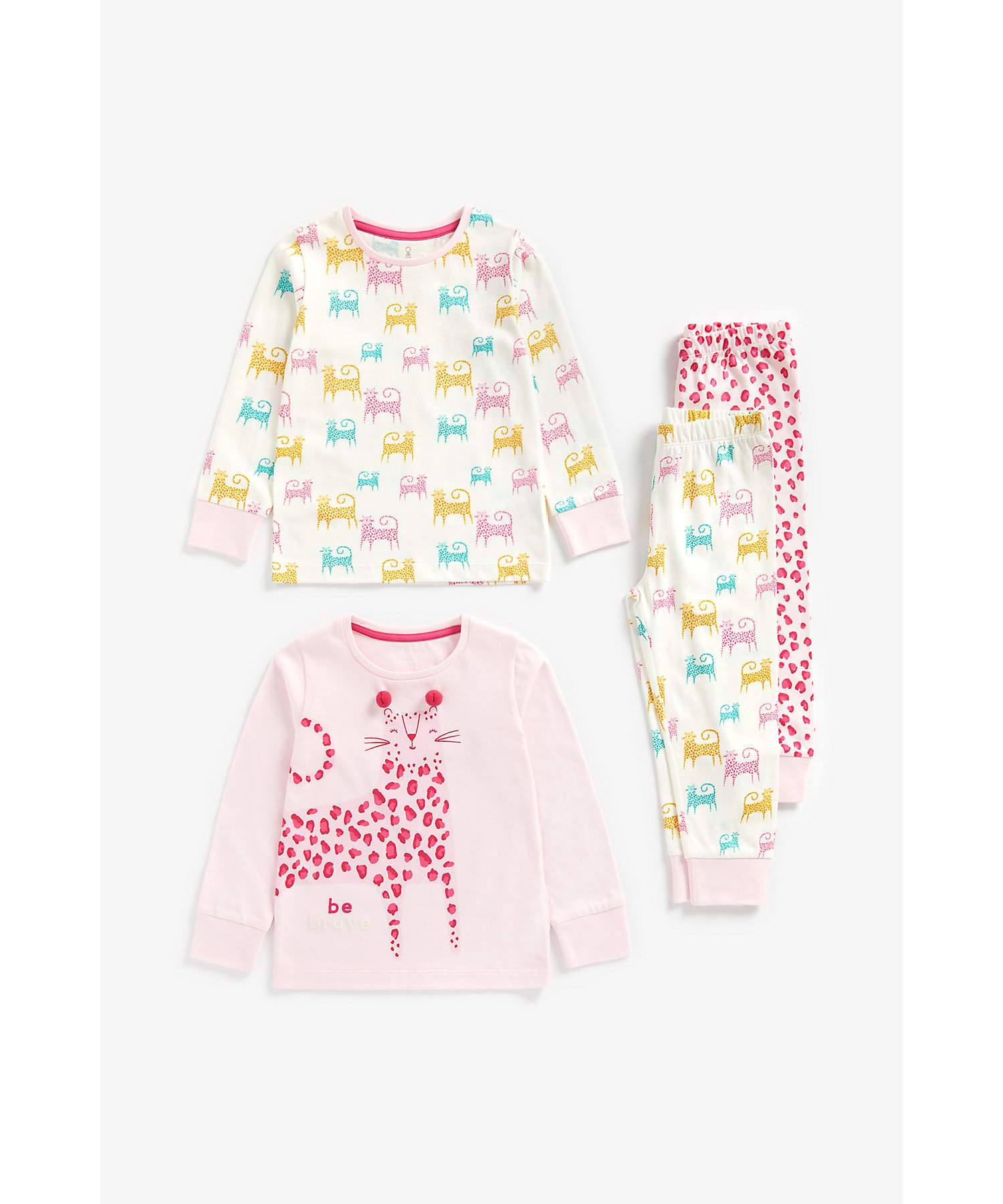 Mothercare   Girls Full Sleeves Pyjama Set Leopard Print - Pack Of 2 - Multicolor