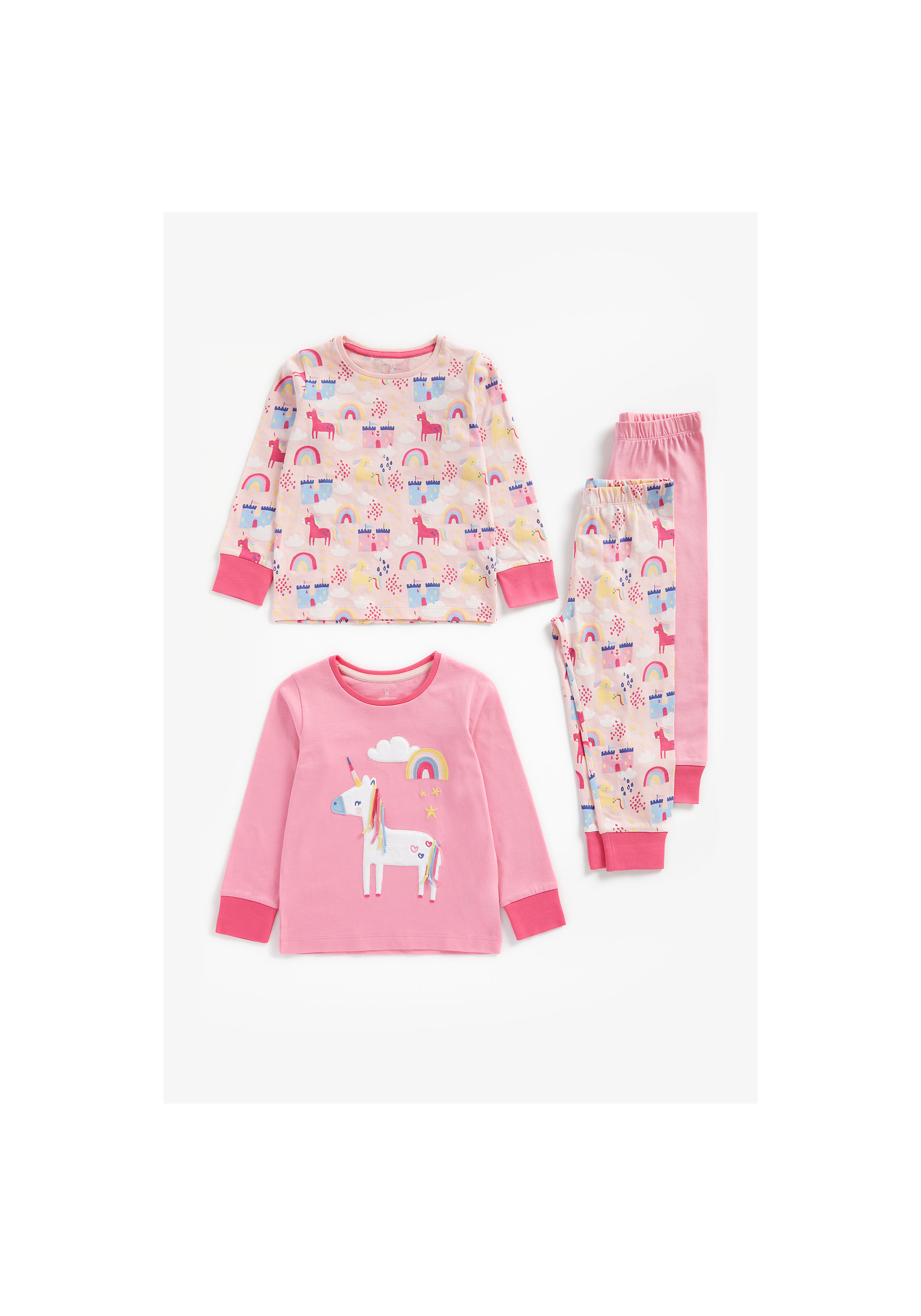 Mothercare   Girls Full Sleeves Pyjama Set Unicorn Patchwork - Pack Of 2 - Pink