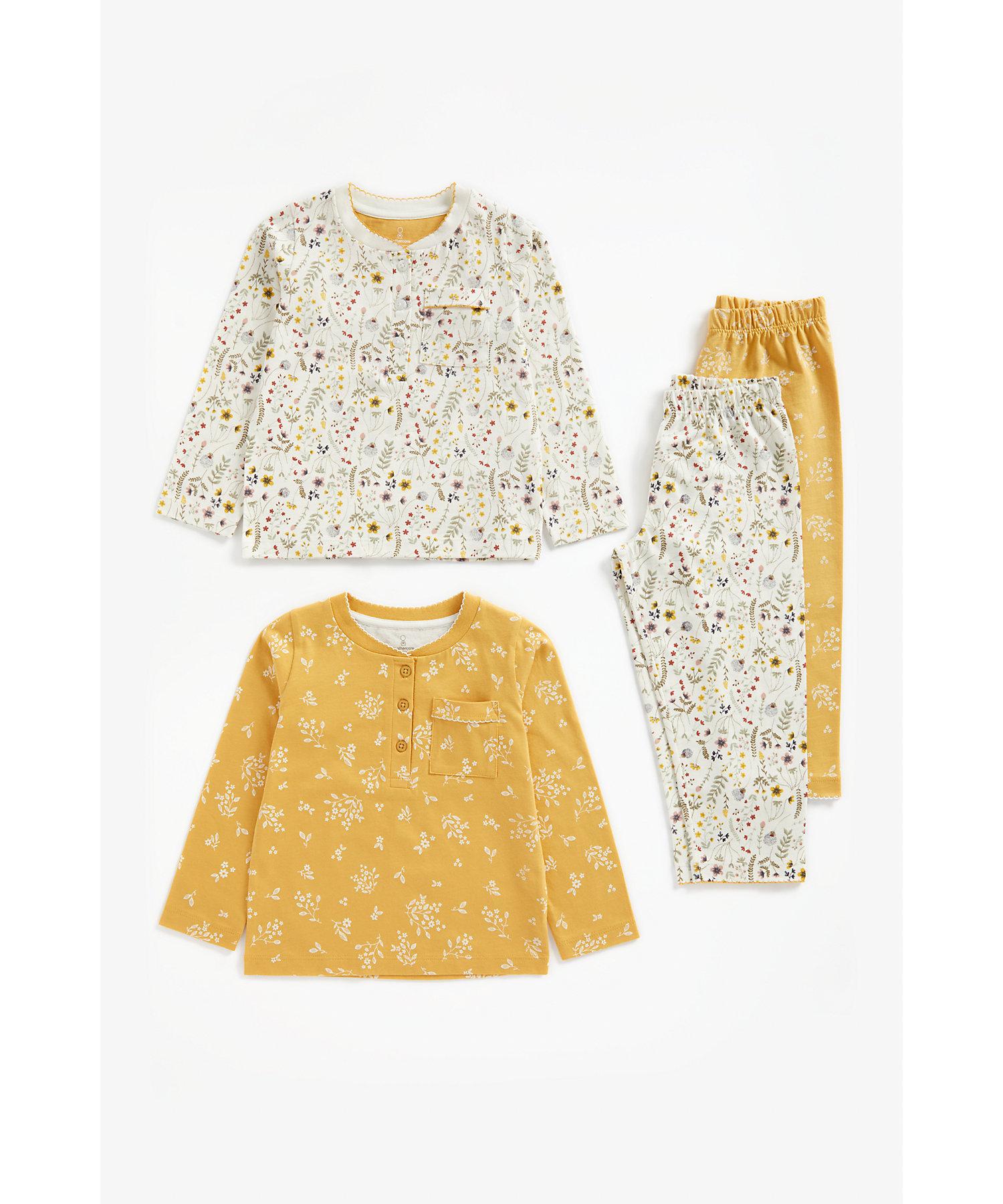 Mothercare   Girls Full Sleeves Pyjama Set Floral Print - Pack Of 2 - Multicolor