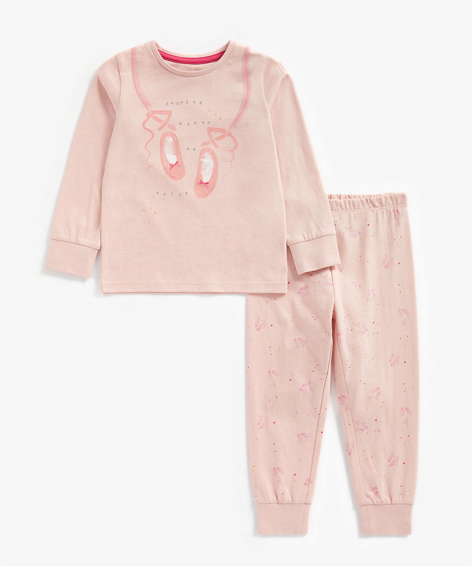 Mothercare   Girls Full Sleeves Pyjama Set Ballet Print - Pink