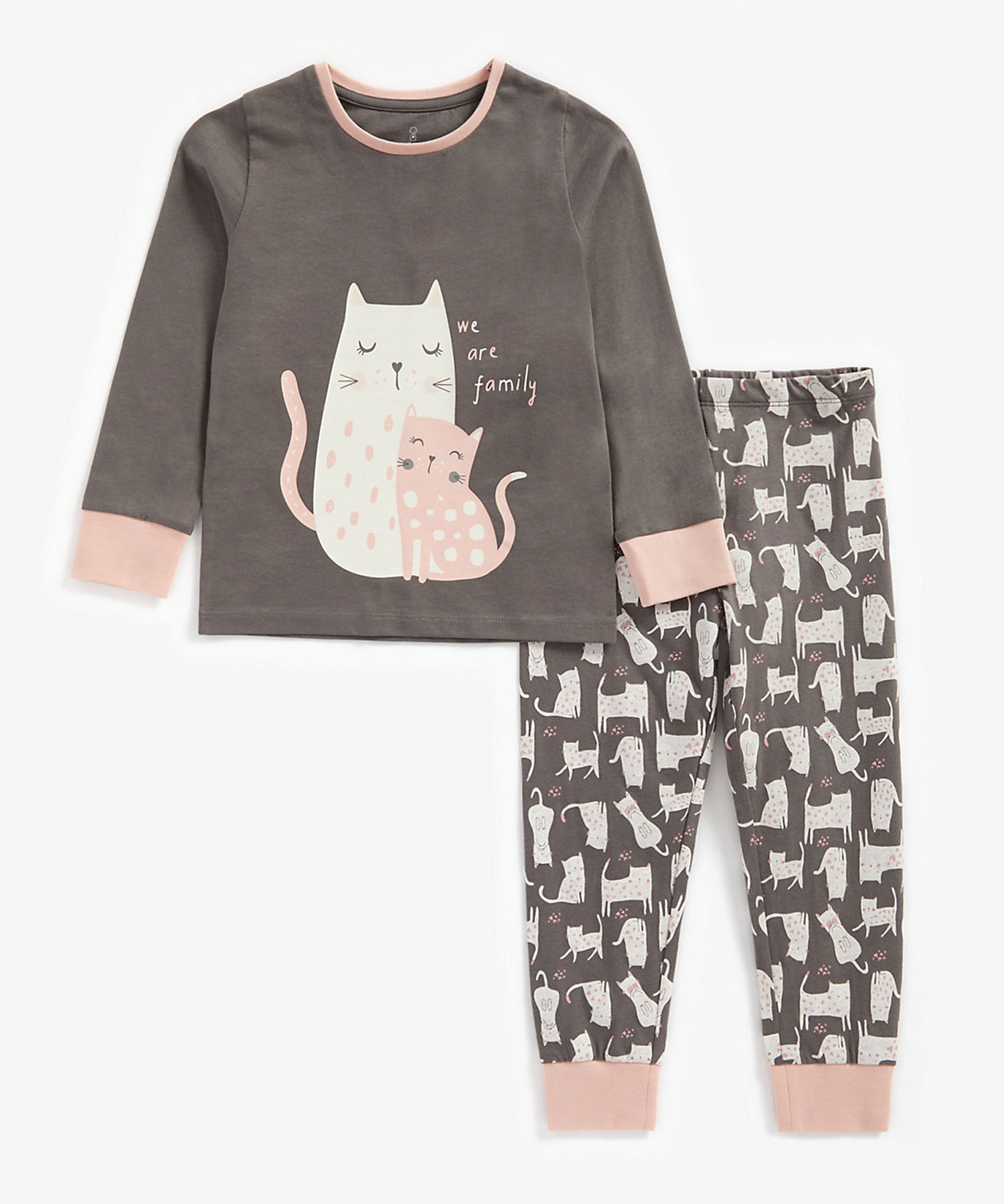 Mothercare | Girls Full Sleeves Pyjama Set Cat Print - Charcoal