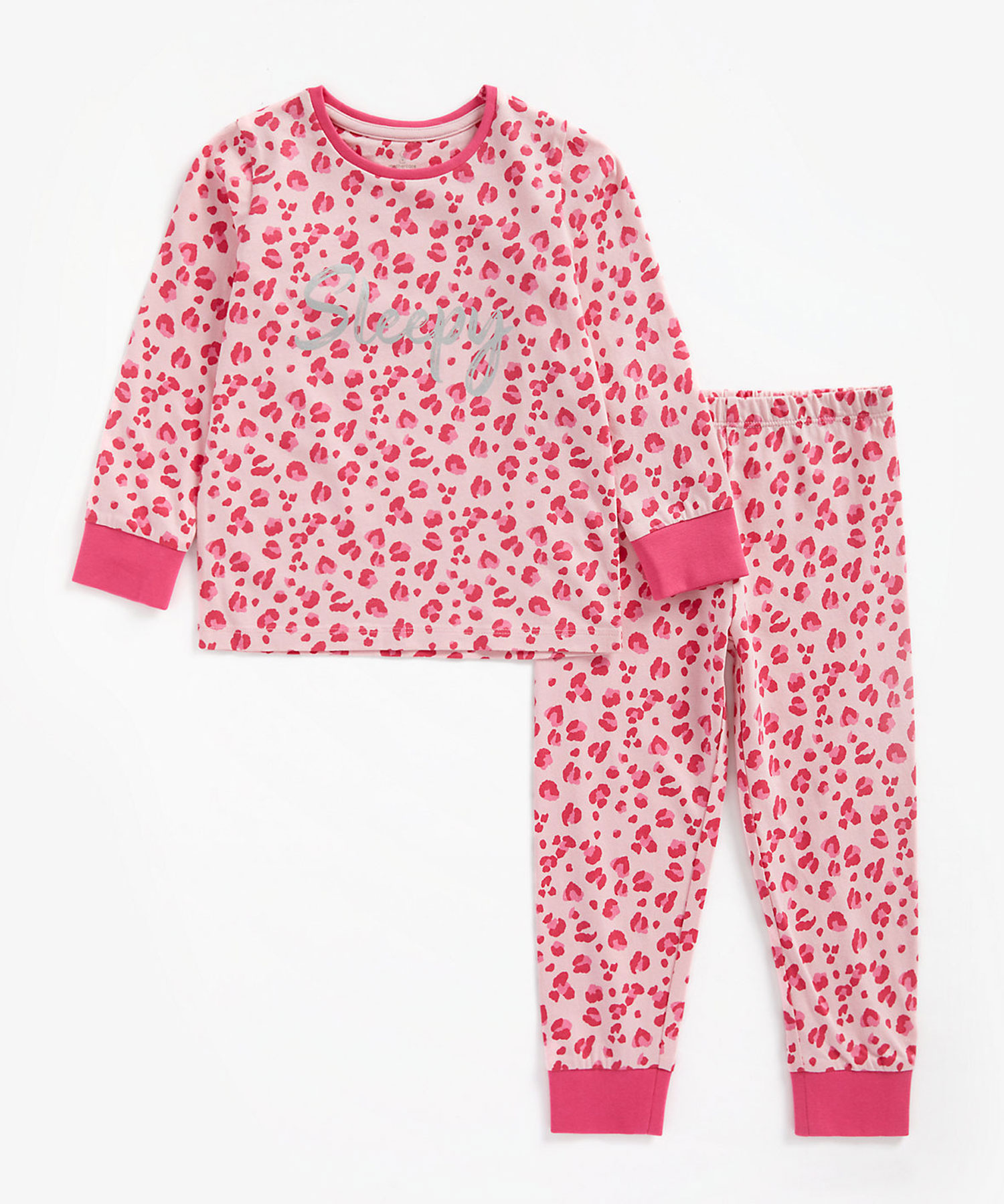 Mothercare   Girls Full Sleeves Pyjama Set Leopard Print - Pink
