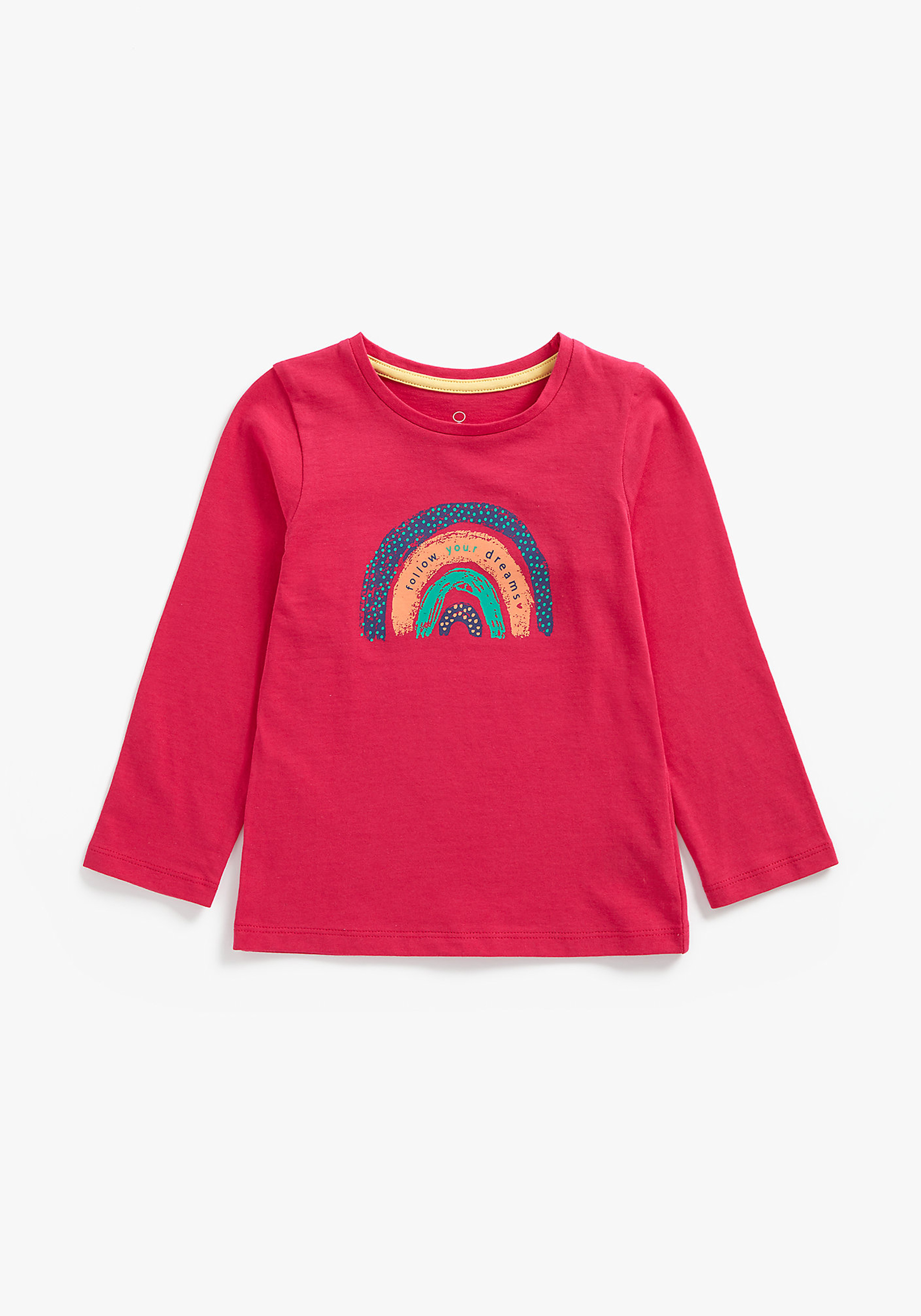 Mothercare | Girls Full Sleeves T-Shirt Rainbow With Text Print - Red