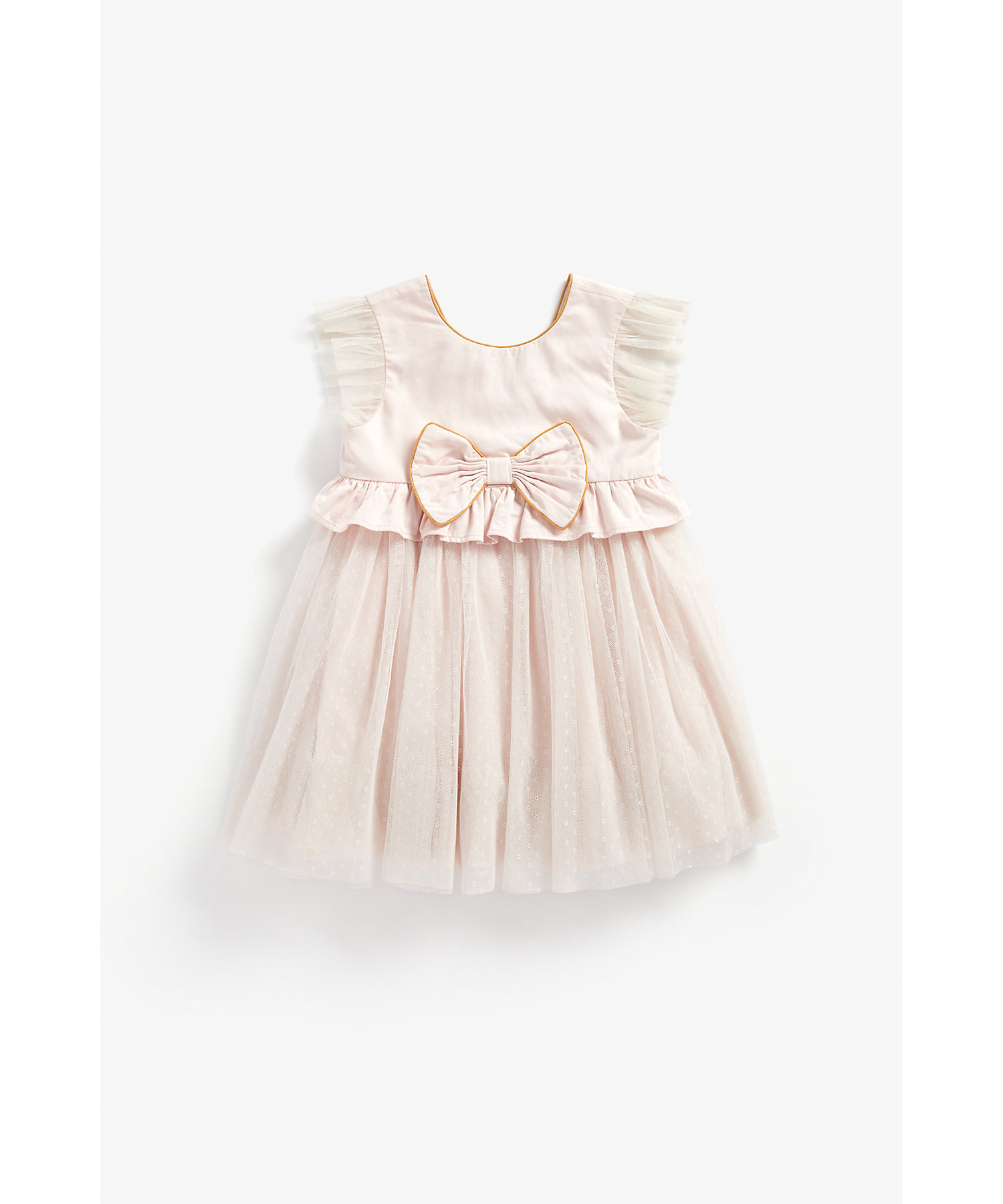 Mothercare | Girls Half Sleeves Mesh Party Dress Bow Detail - Pink