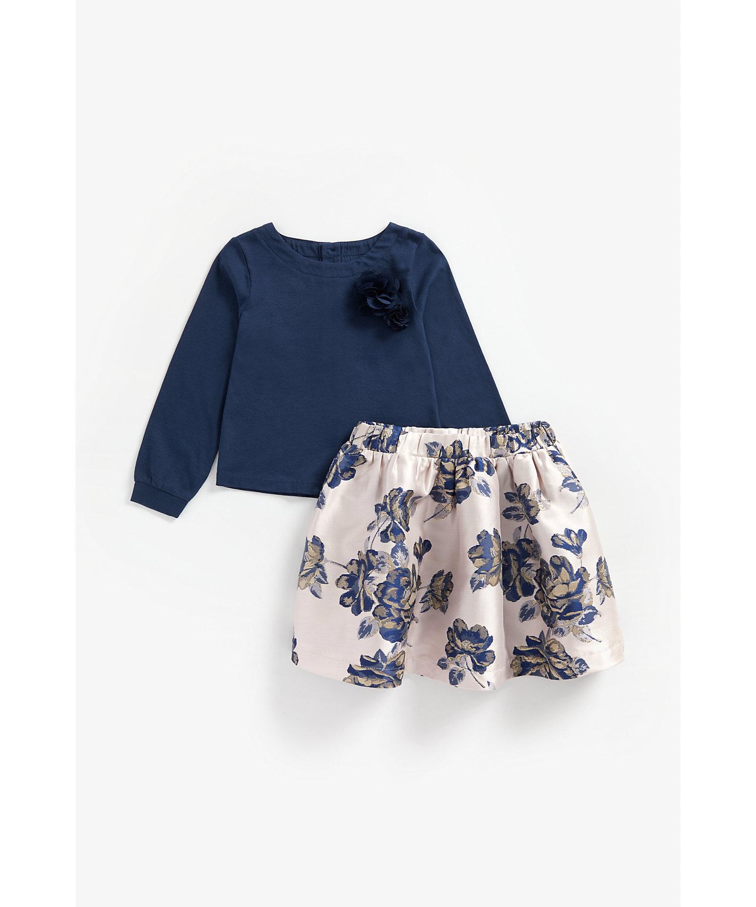 Mothercare | Girls Full Sleeves Top And Skirt Set 3D Flower Detail - Navy