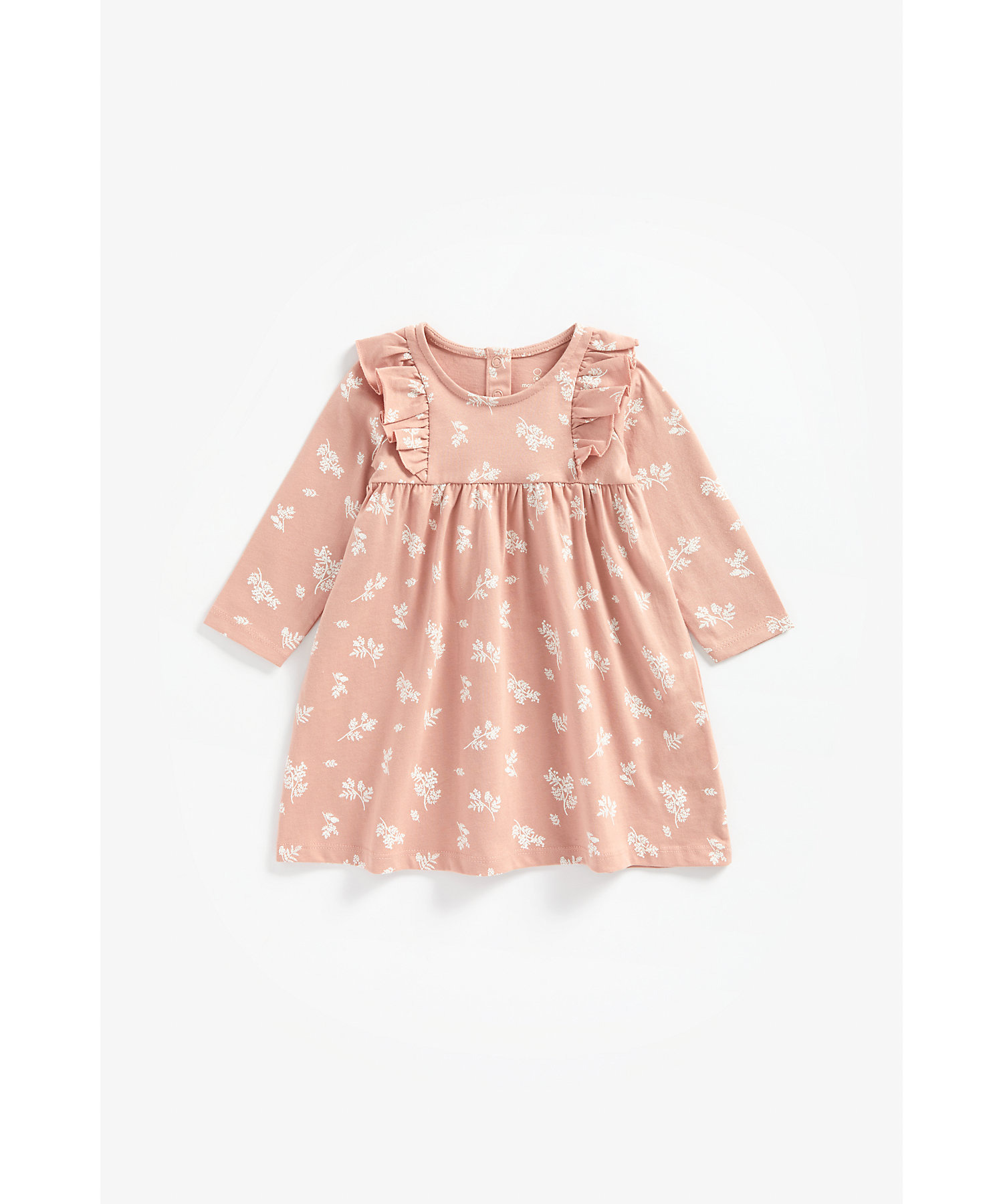 Mothercare | Girls Full Sleeves Floral Print Dress Frill Details - Pink