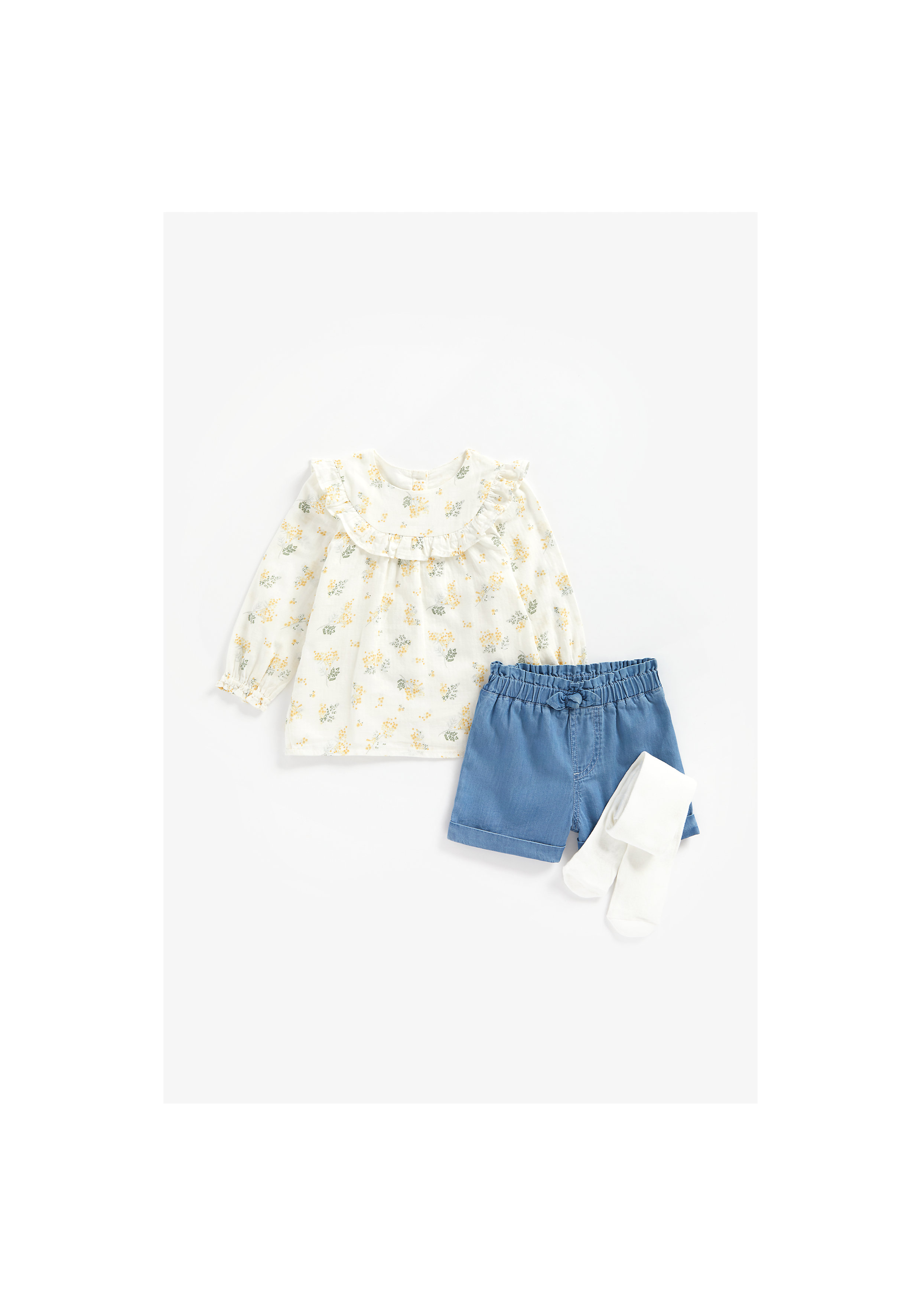 Mothercare | Girls Full Sleeves Top, Shorts And Tights Set Frill Detail - Multicolor