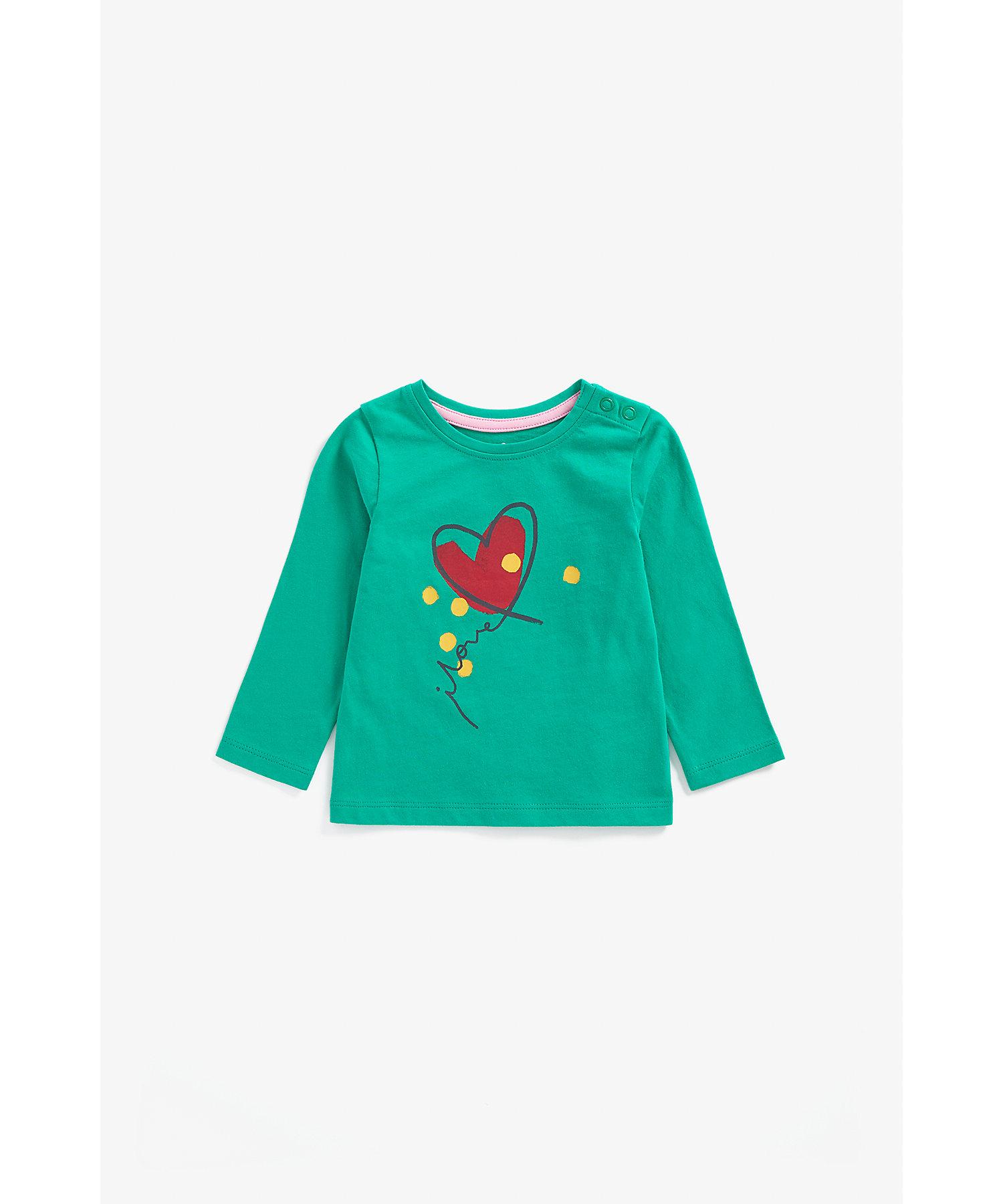 Mothercare | Girls Full Sleeves T-Shirt Heart Print - Green