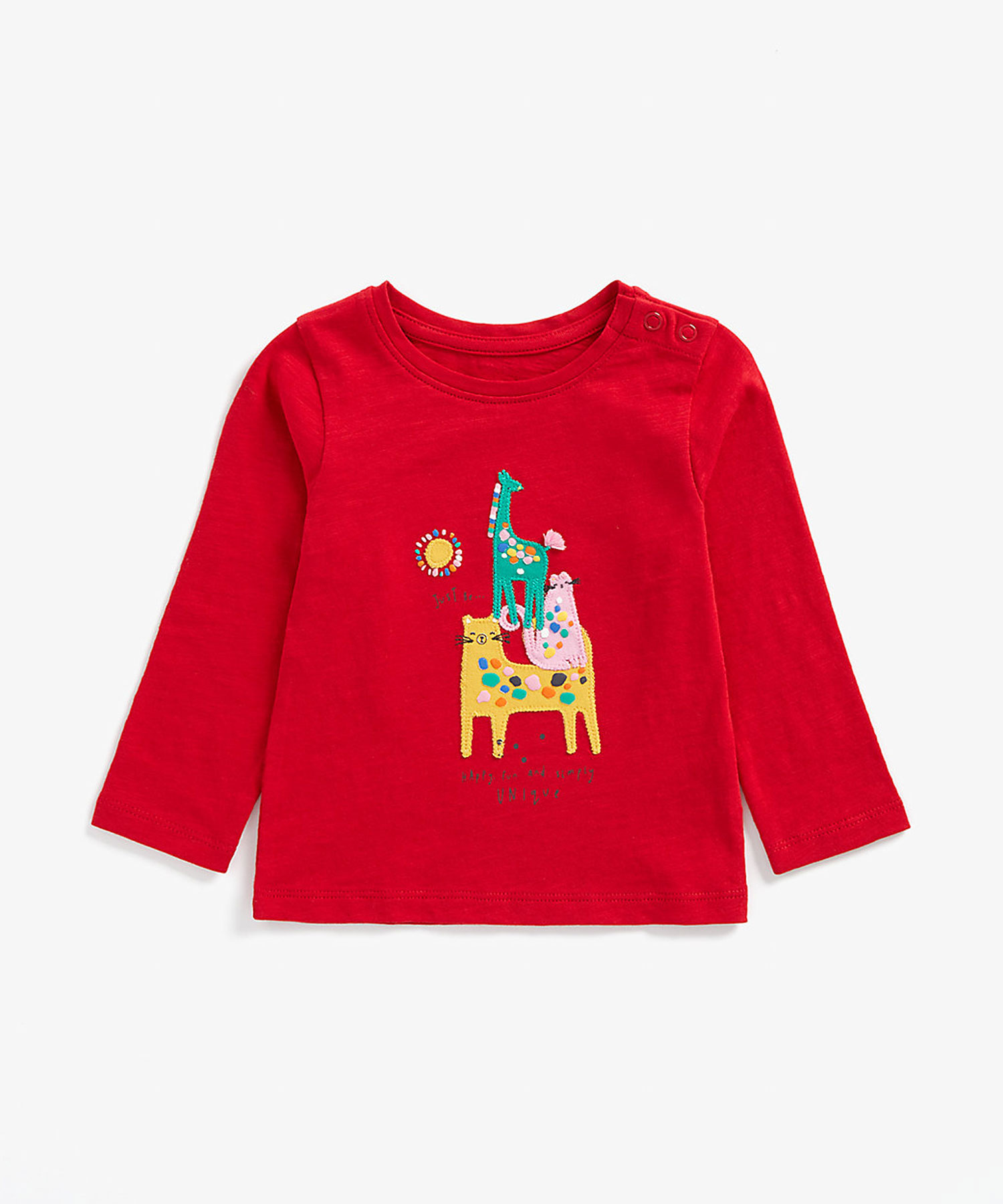 Mothercare | Girls Full Sleeves T-Shirt Animal Embroidery - Red