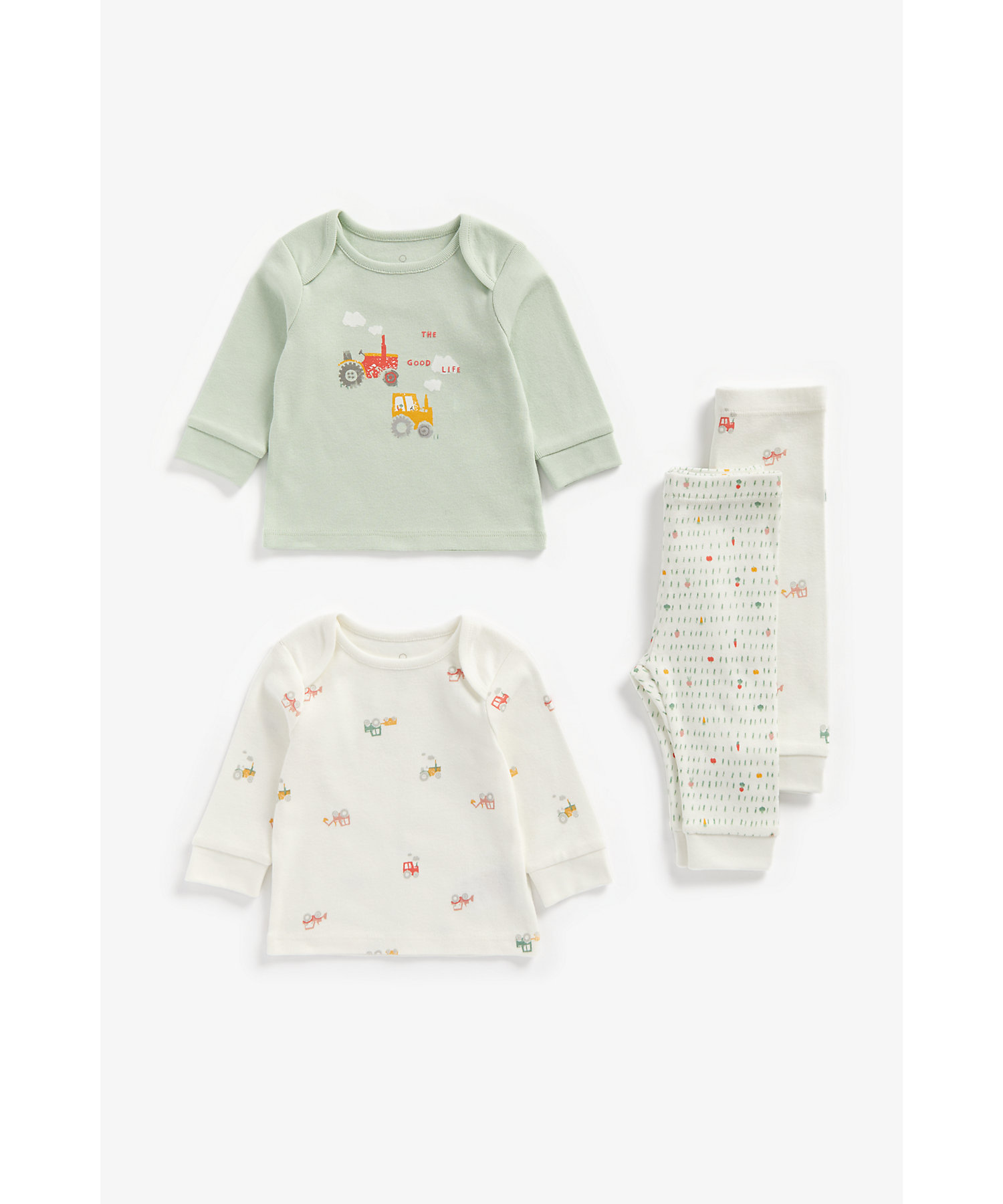 Mothercare | Boys Full Sleeves Pyjama Set Tractor Print - Pack Of 2 - Multicolor