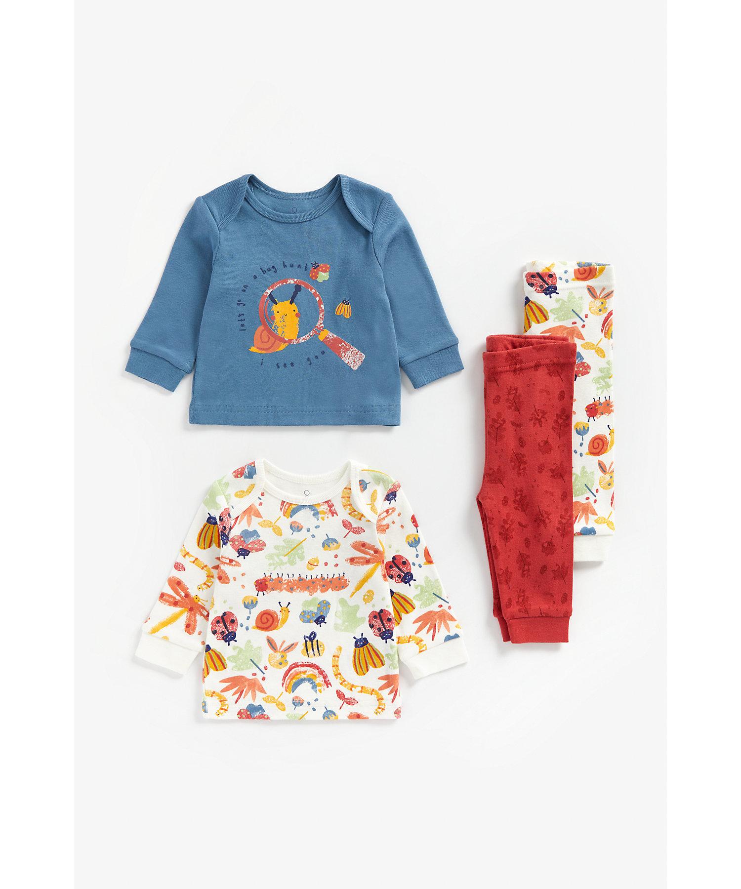 Mothercare | Boys Full Sleeves Pyjama Set Bug Print - Pack Of 2 - Multicolor