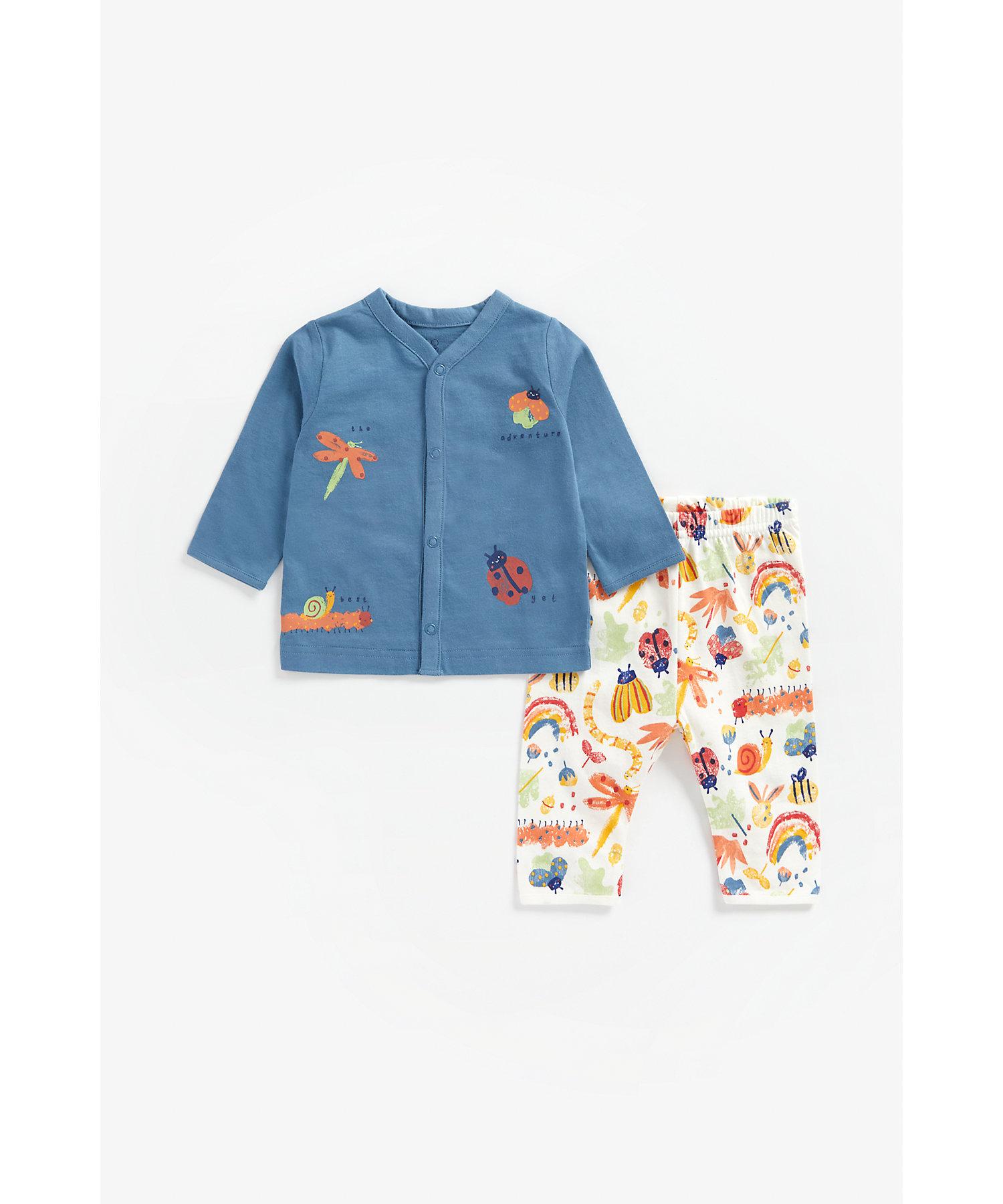Mothercare   Boys Full Sleeves Pyjama Set Bug Print - Blue