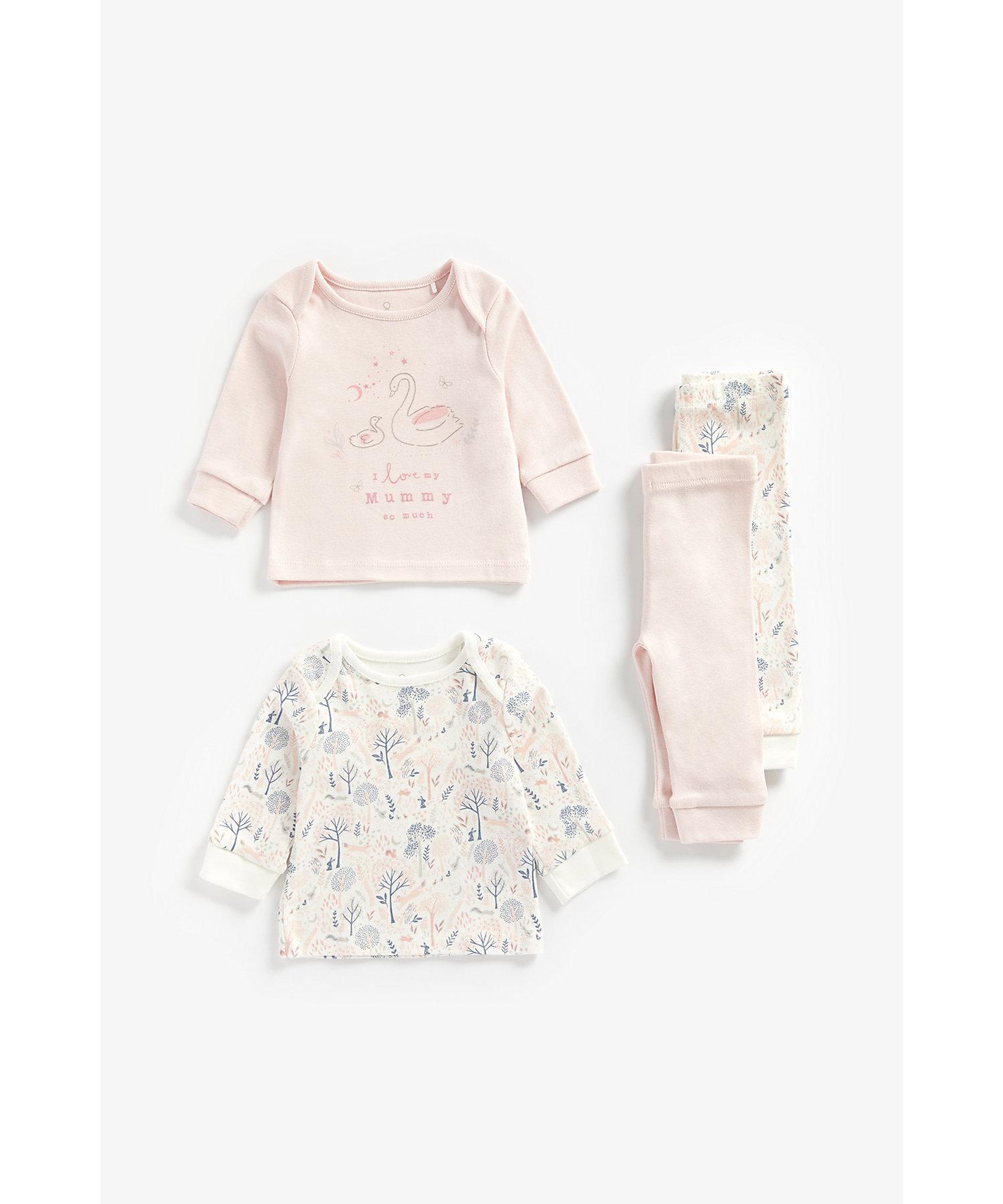 Mothercare | Girls Full Sleeves Pyjama Set Slogan Print - Pack Of 2 - Pink