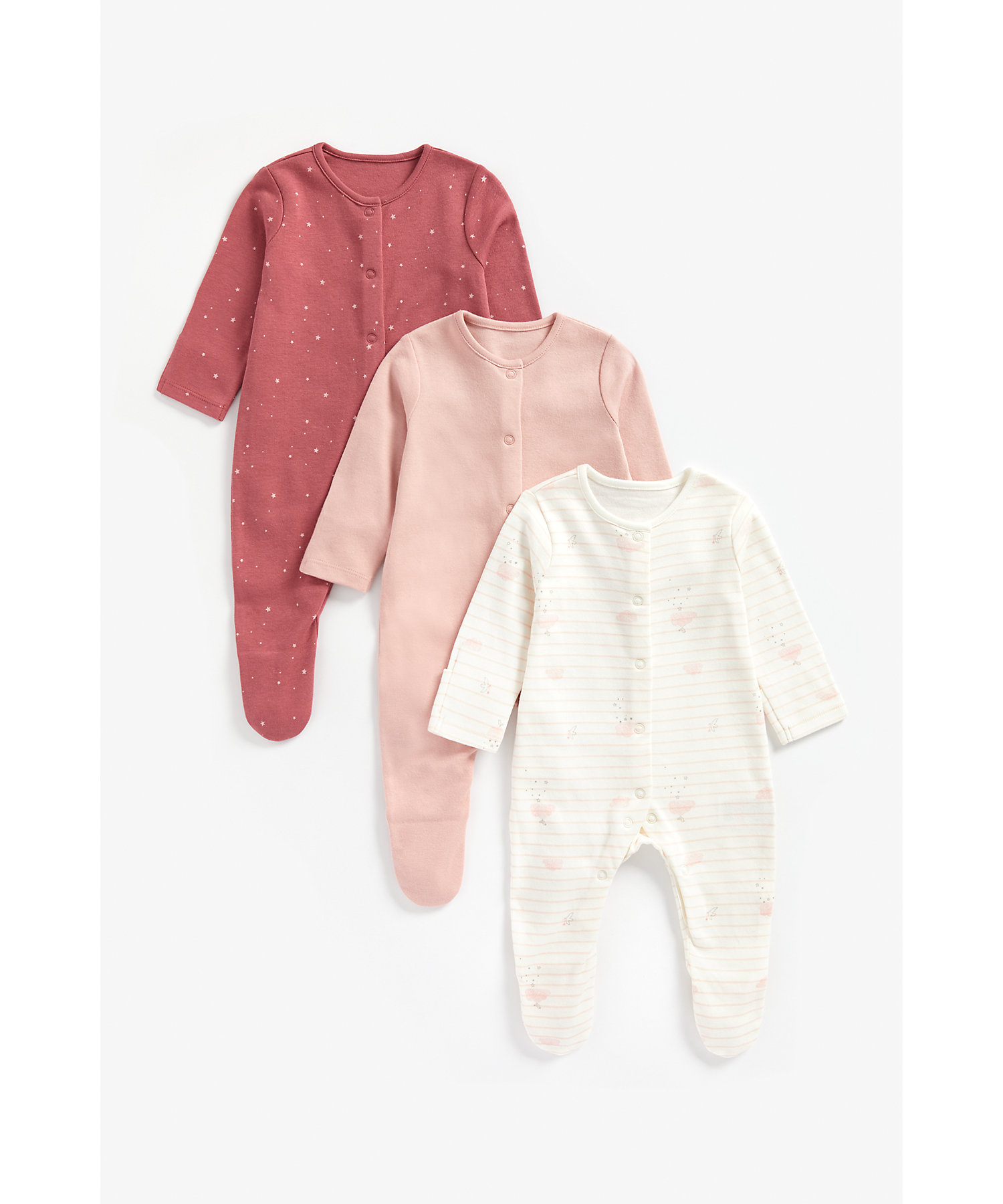 Mothercare | Girls Full Sleeves Sleepsuit Star Print And Striped - Pack Of 3 - Pink