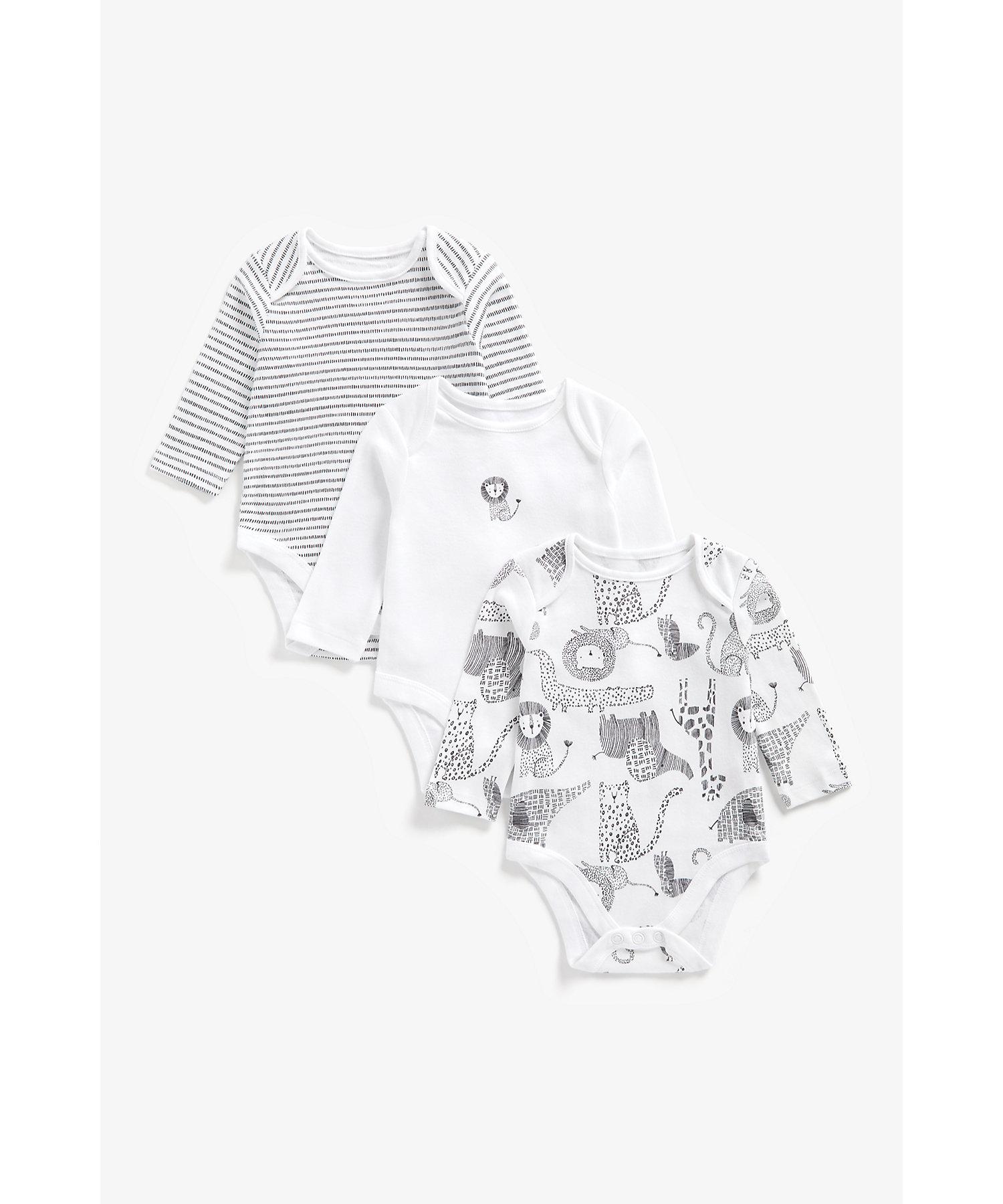 Mothercare | Unisex Full Sleeves Bodysuit Animal Print - Pack Of 3 - White