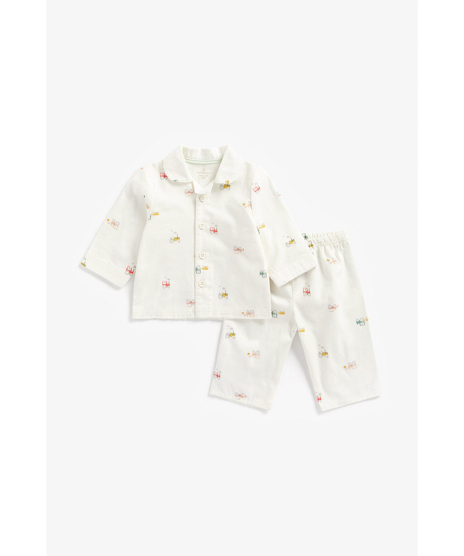 Mothercare | Boys Full Sleeves Pyjama Set Tractor Print - White