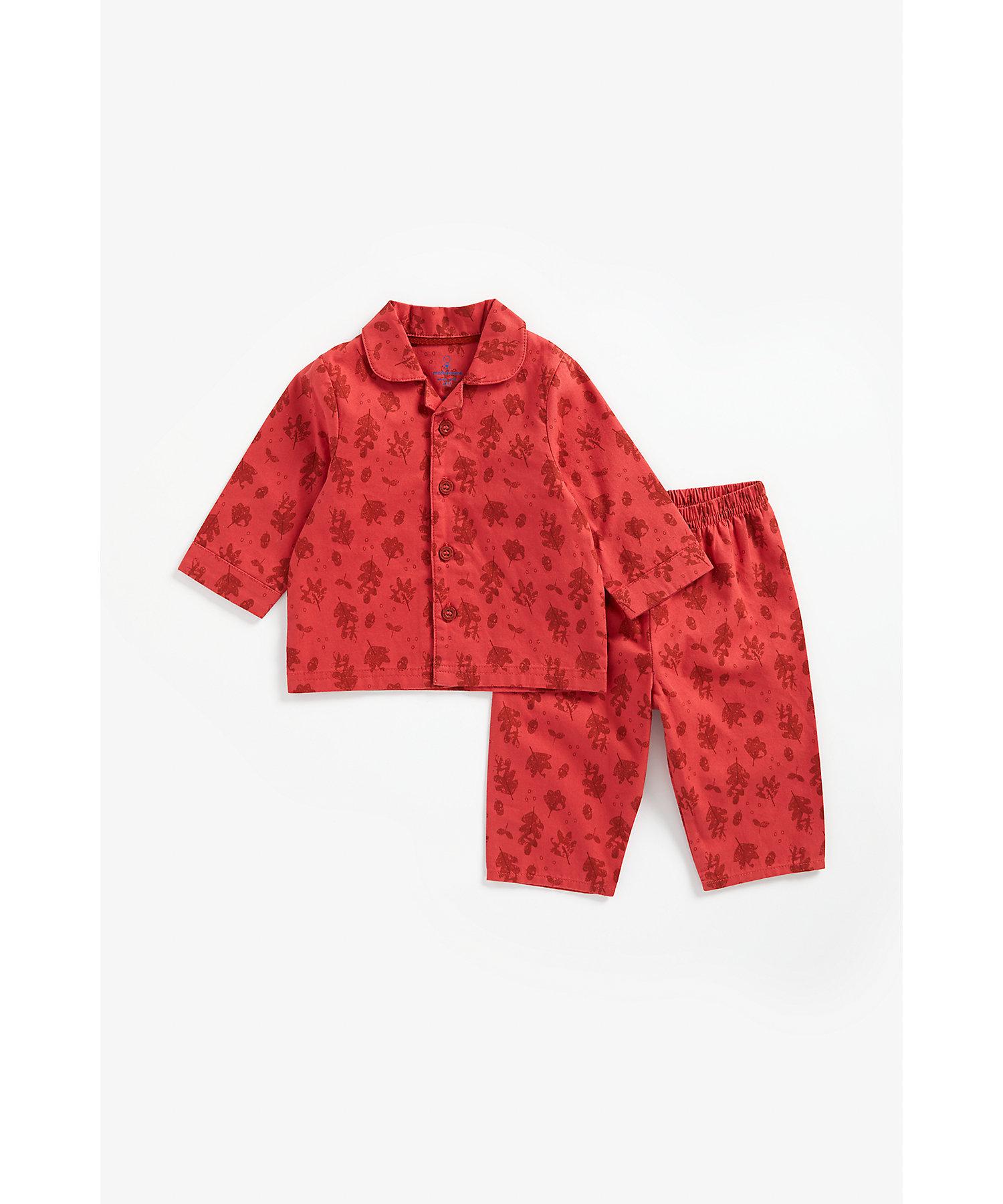 Mothercare | Boys Full Sleeves Pyjama Set Leaf Print - Red