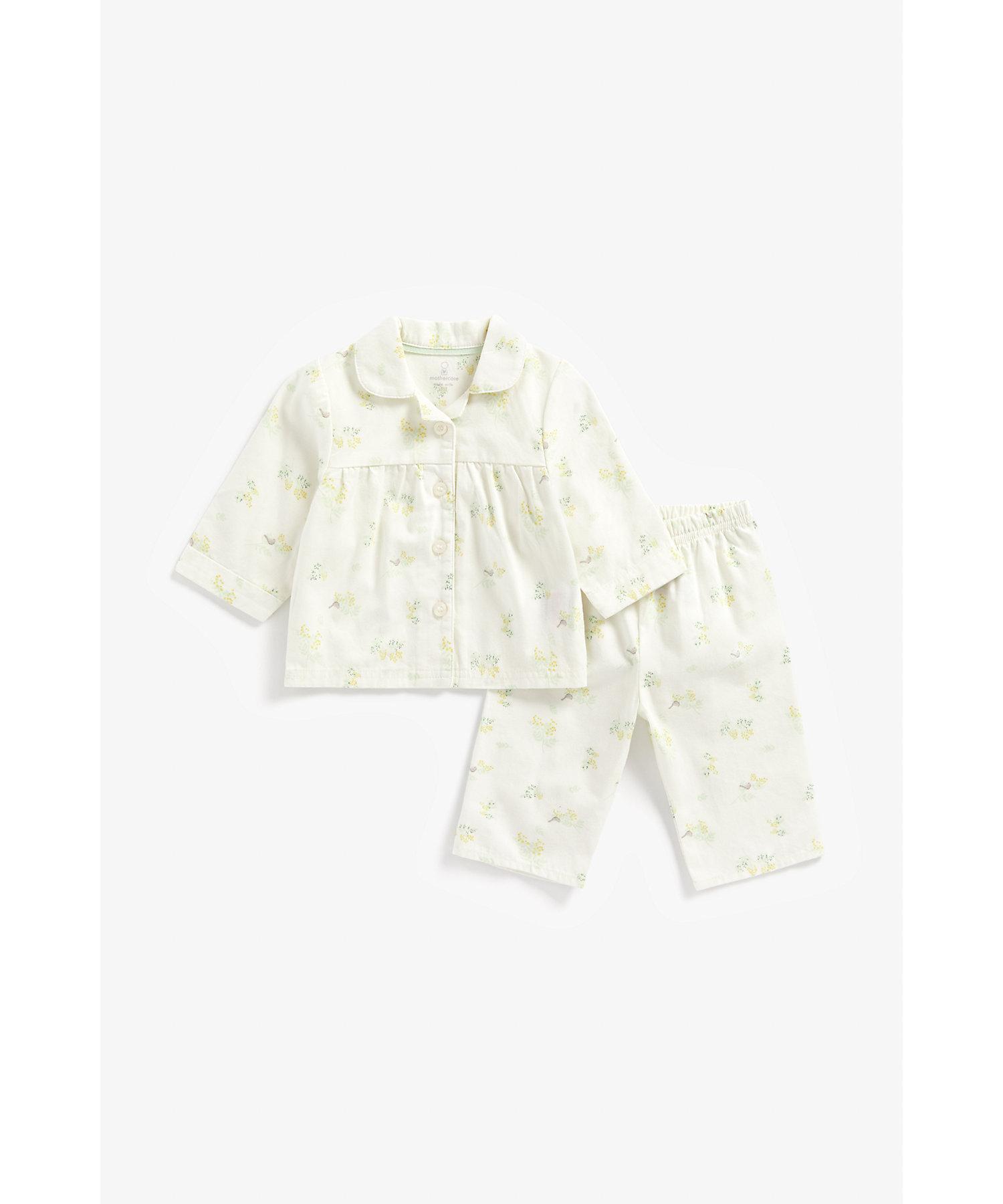 Mothercare | Girls Full Sleeves Pyjama Set Flower Print - White