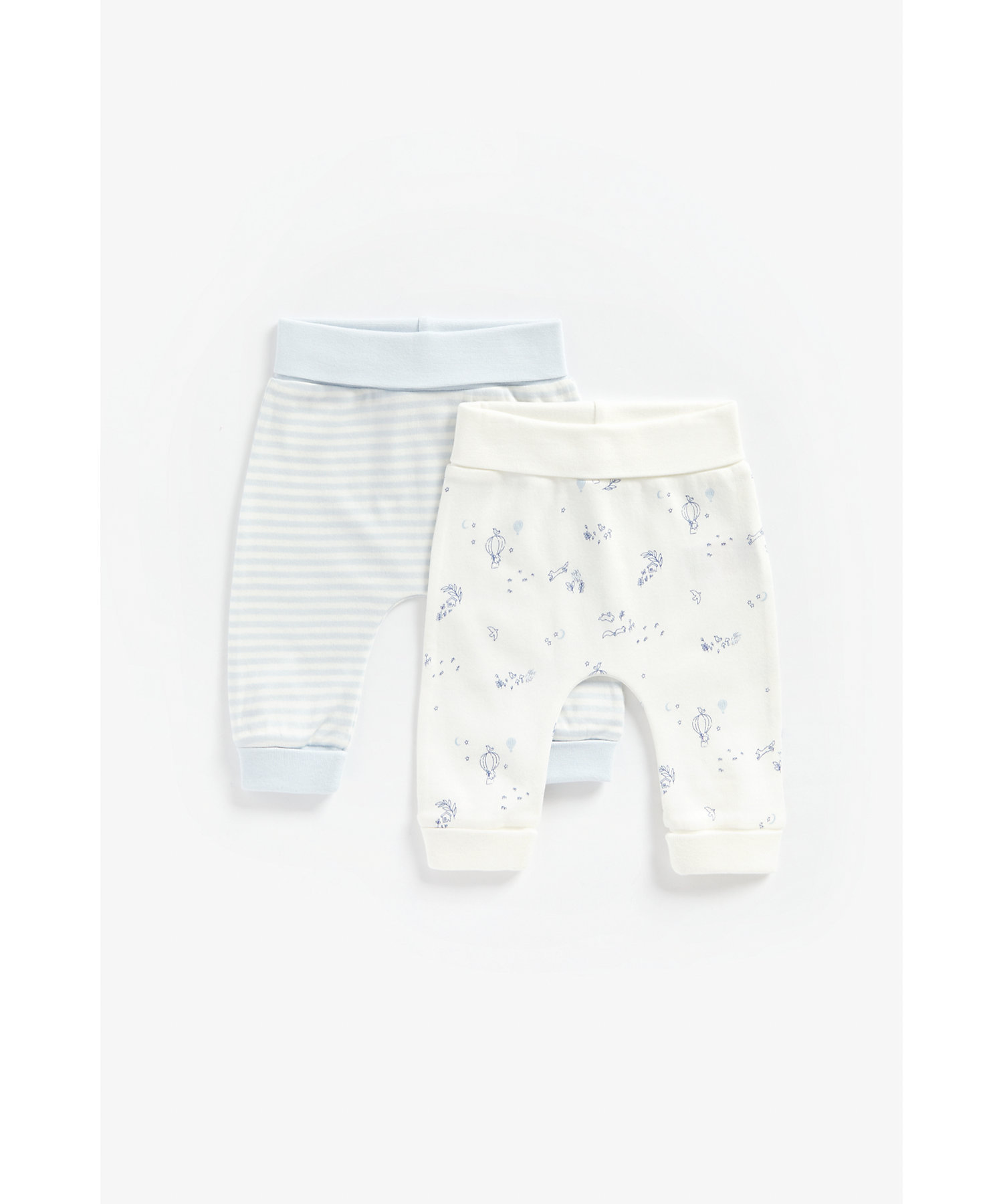 Mothercare | Boys Joggers Striped And Balloon Print - Pack Of 2 - Multicolor