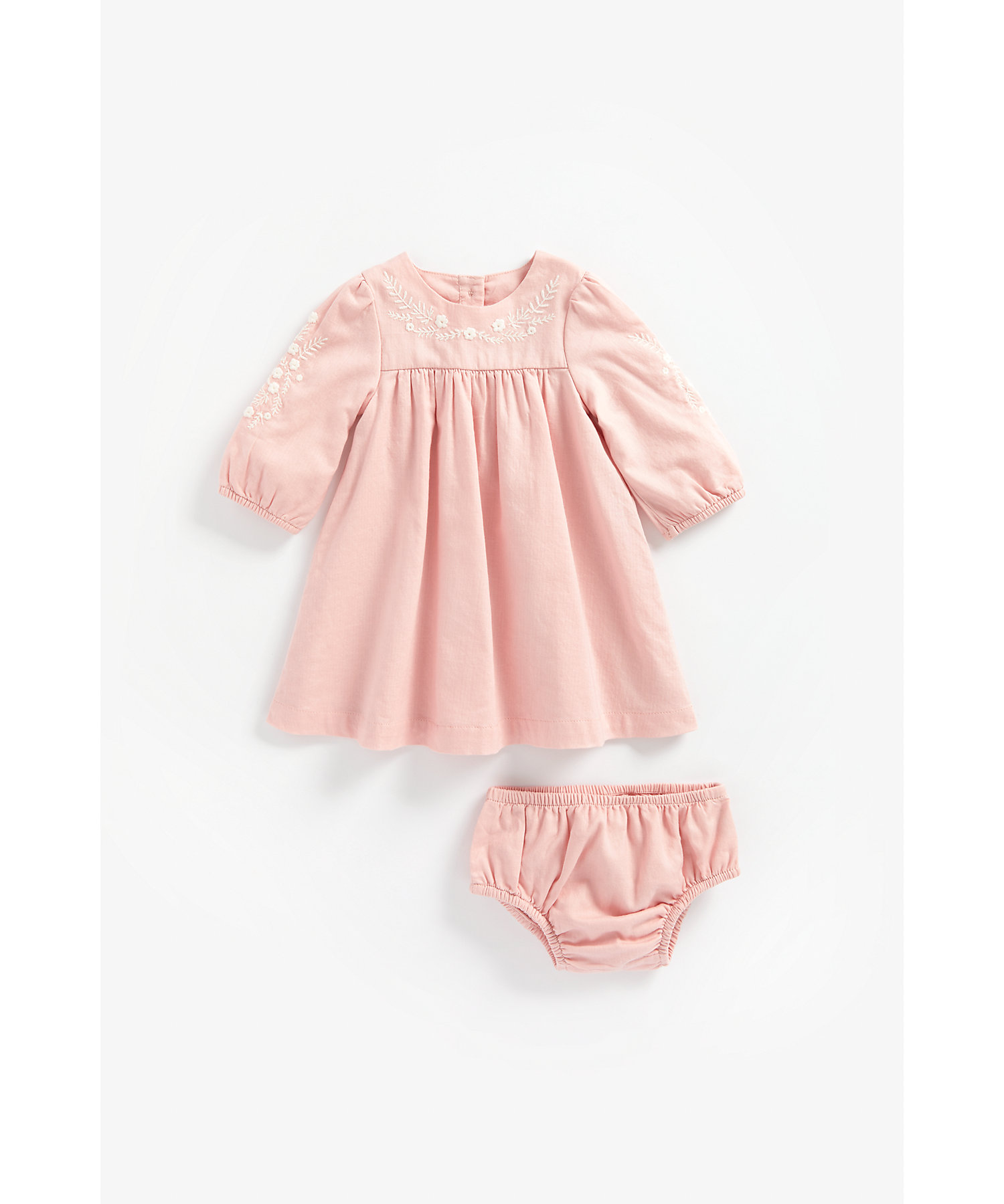 Mothercare | Girls Full Sleeves Dress And Knickers Set Embroidered - Pink