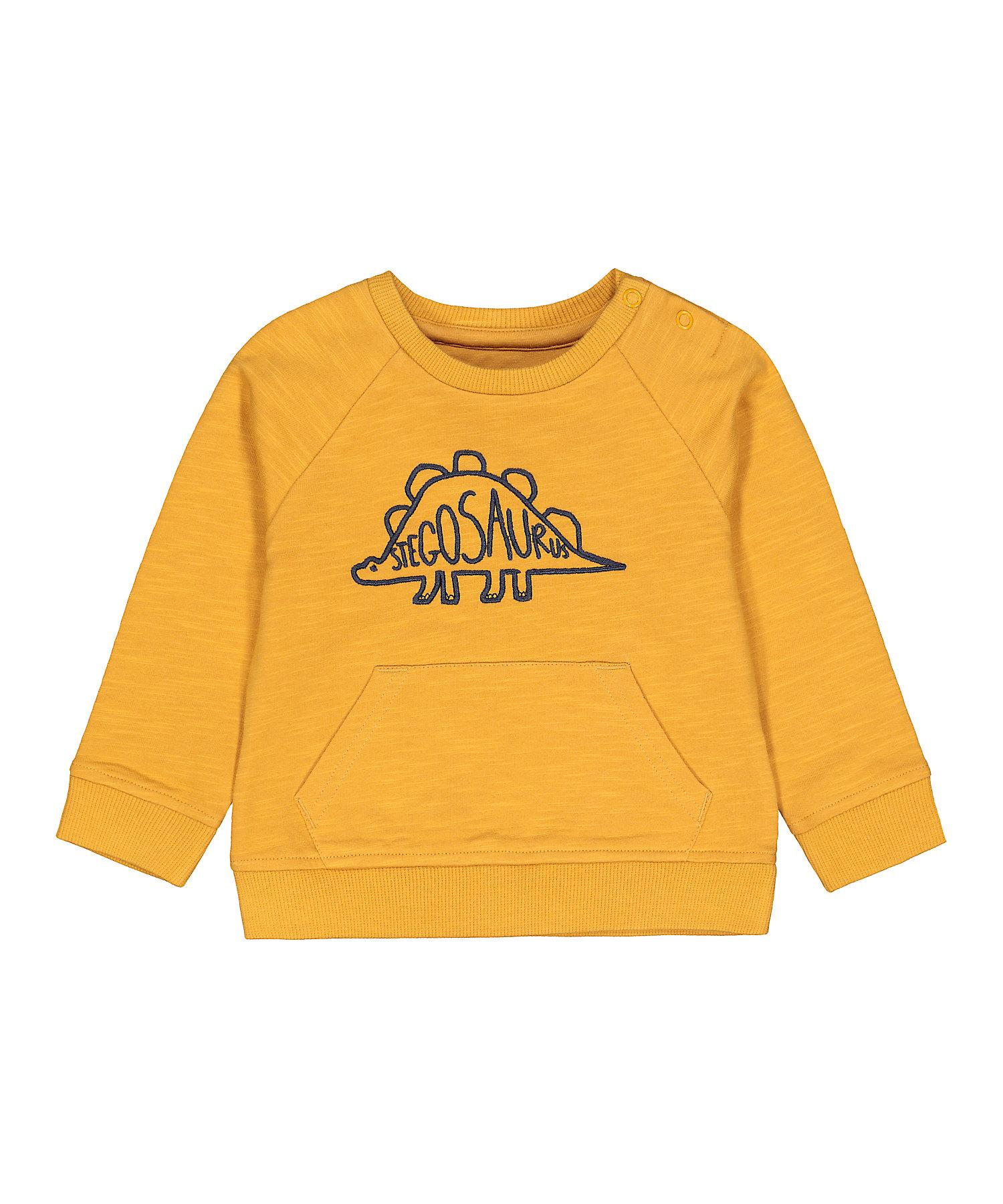 Mothercare   Boys Full Sleeves Sweatshirt Dino Embroidery - Yellow