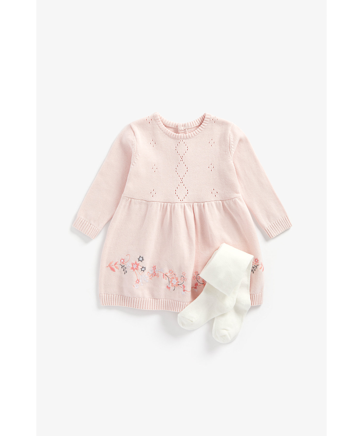 Mothercare | Girls Full Sleeves Dress And Tights Sets Floral Embroidery - Pink