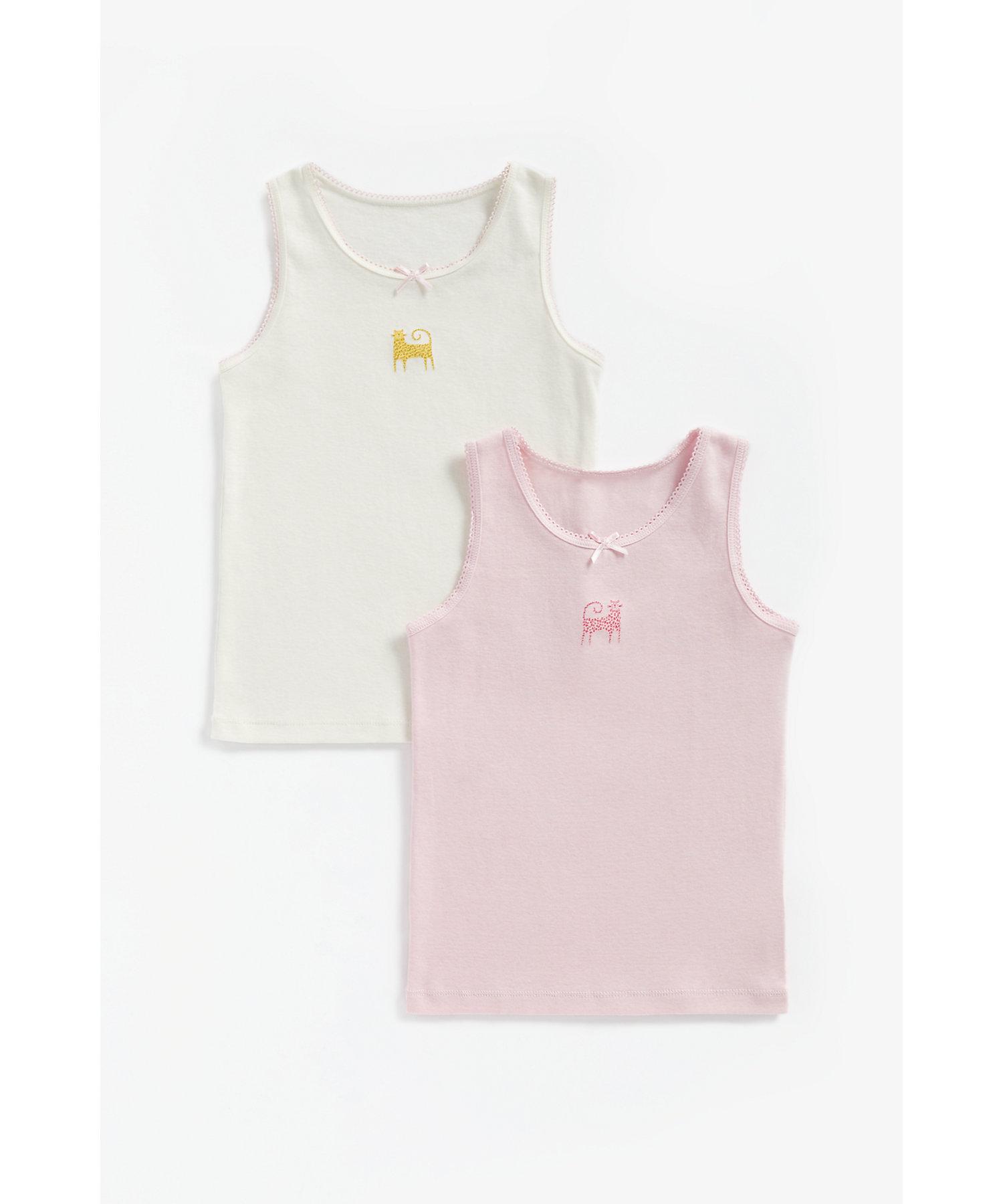 Mothercare | Girls Sleeveless Vest Leopard Print - Pack Of 2 - Multicolor