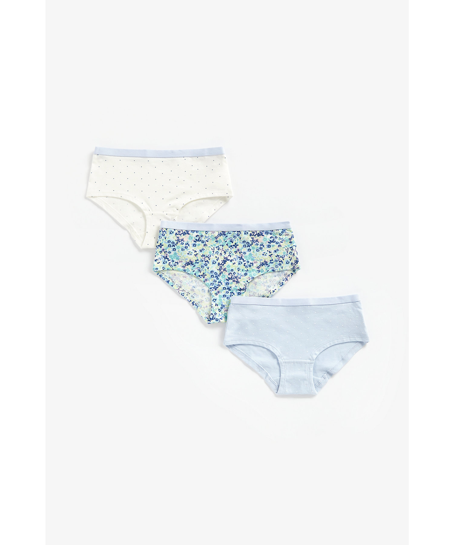 Mothercare   Girls Briefs Floral Print - Pack Of 3 - Blue
