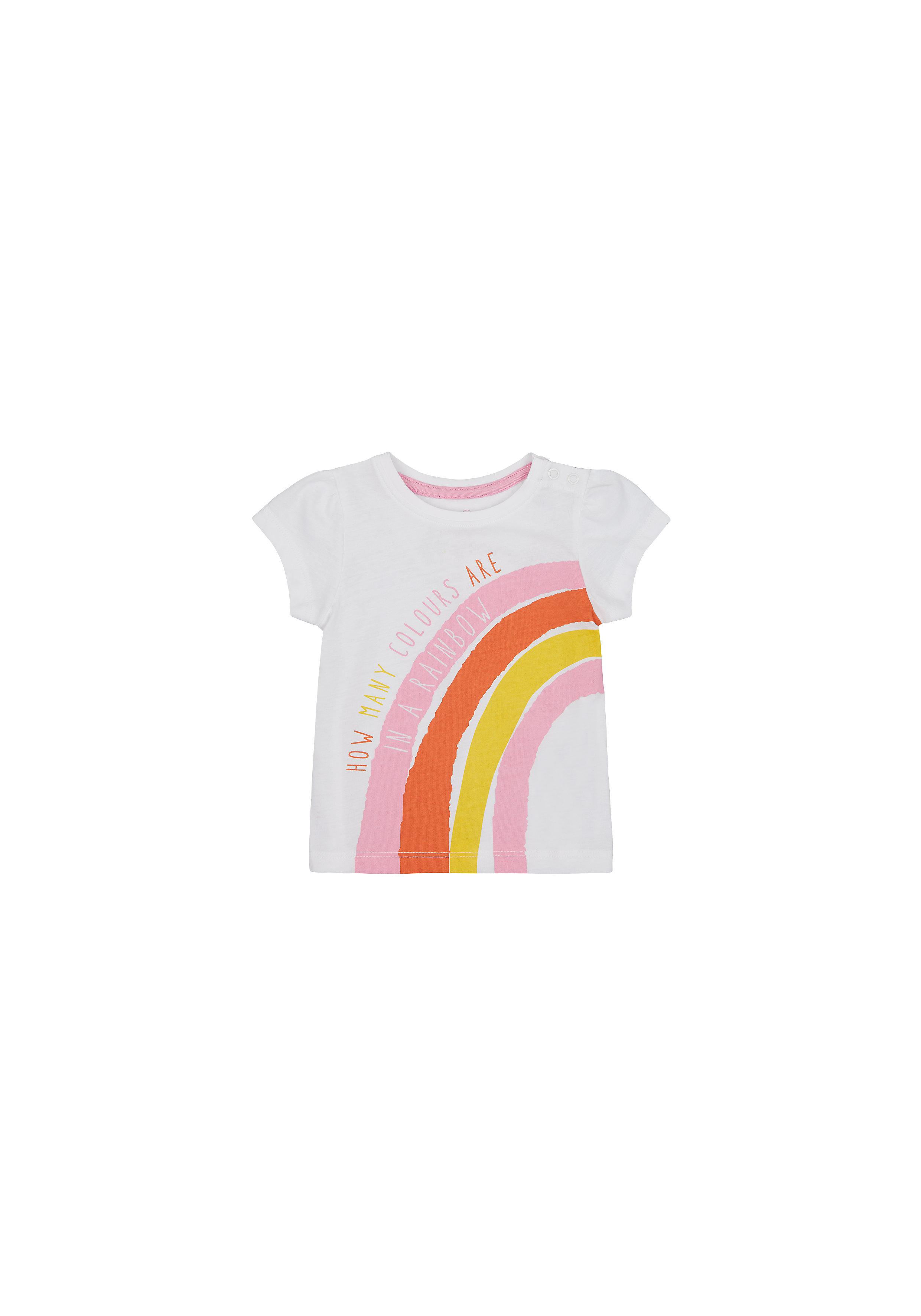 Mothercare | Girls Half Sleeves T-Shirt Rainbow Print - White