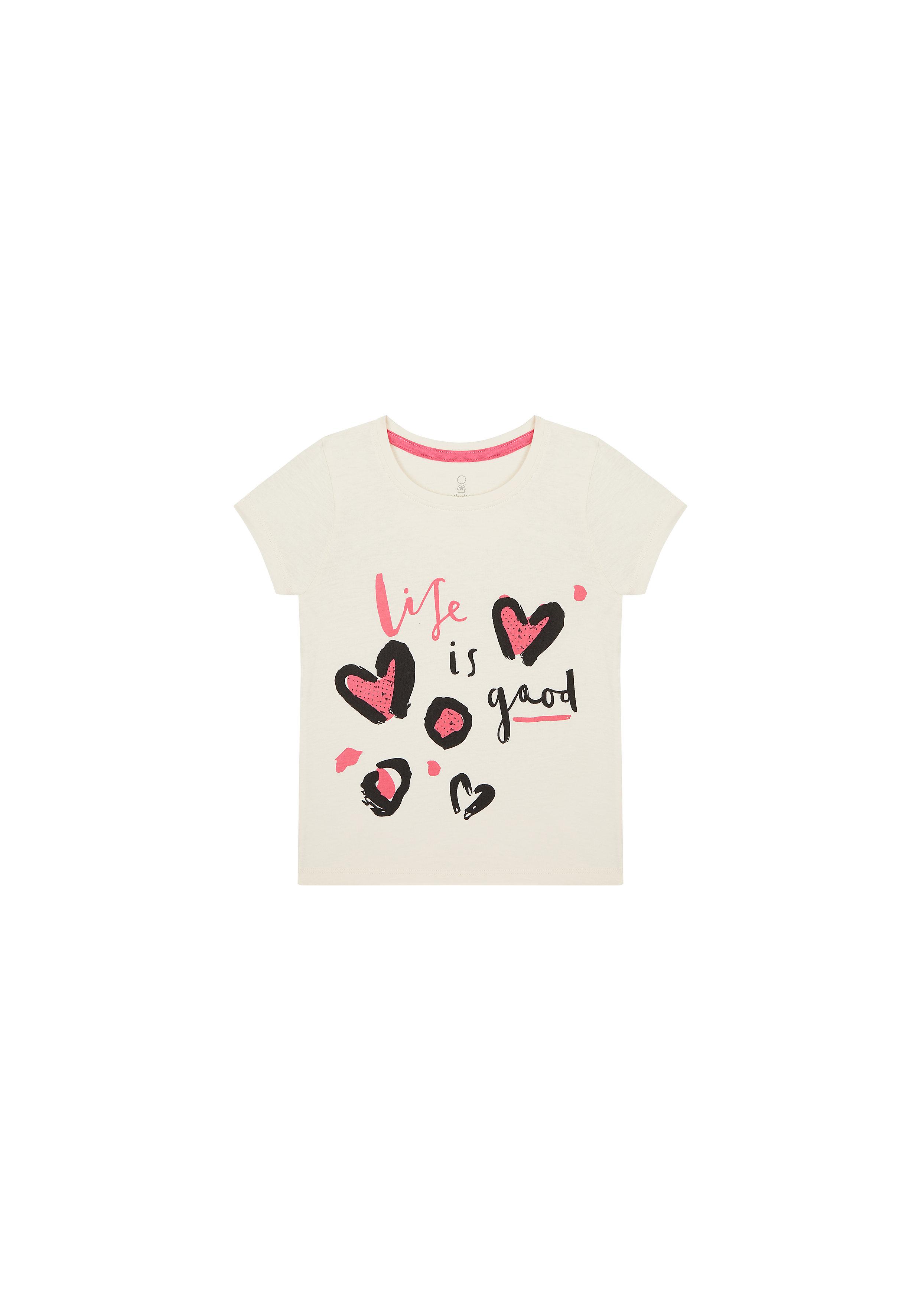 Mothercare | Girls Half Sleeves T-Shirt Heart Print - White