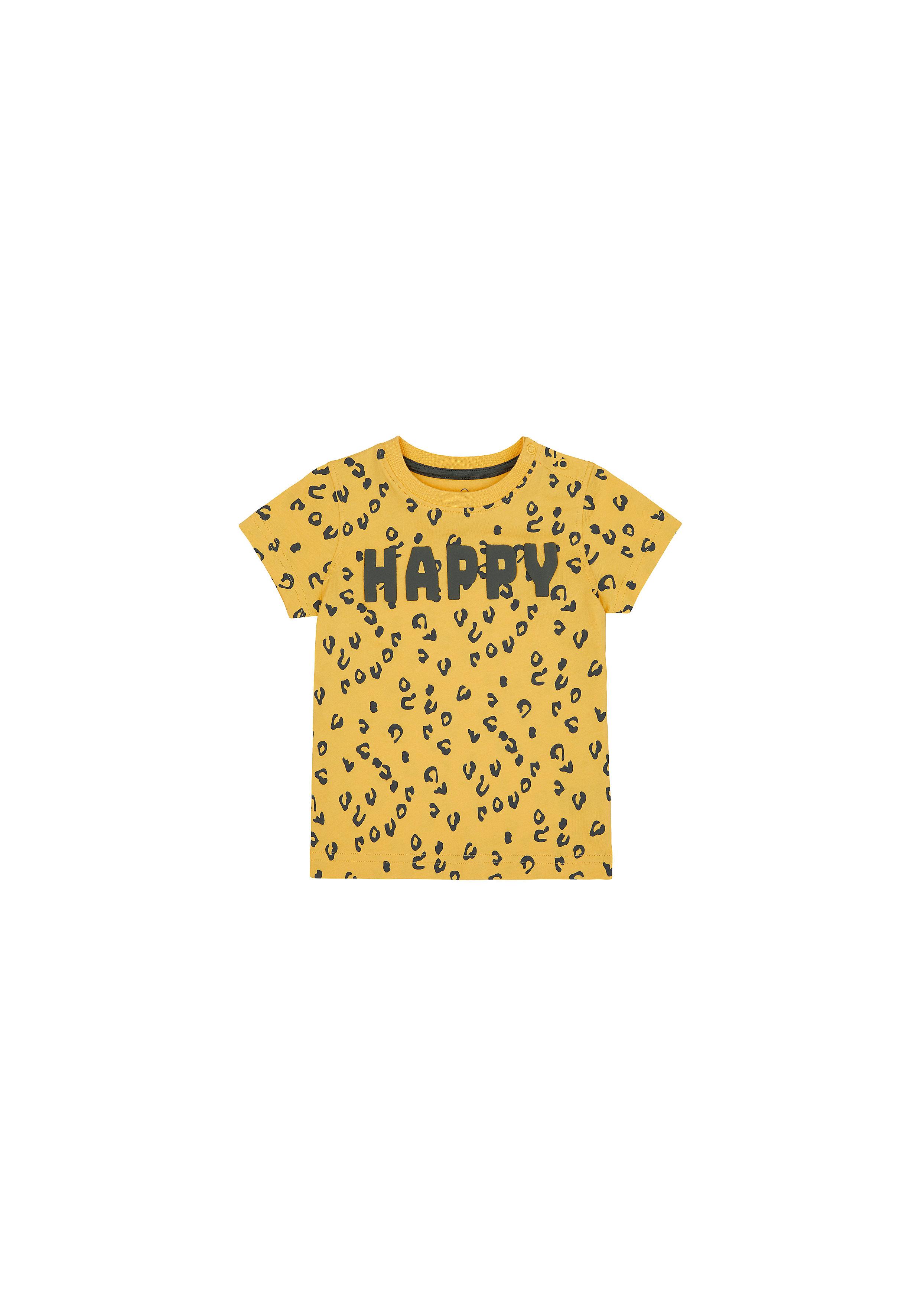 Mothercare | Boys Half Sleeves T-Shirt Textured Print - Yellow