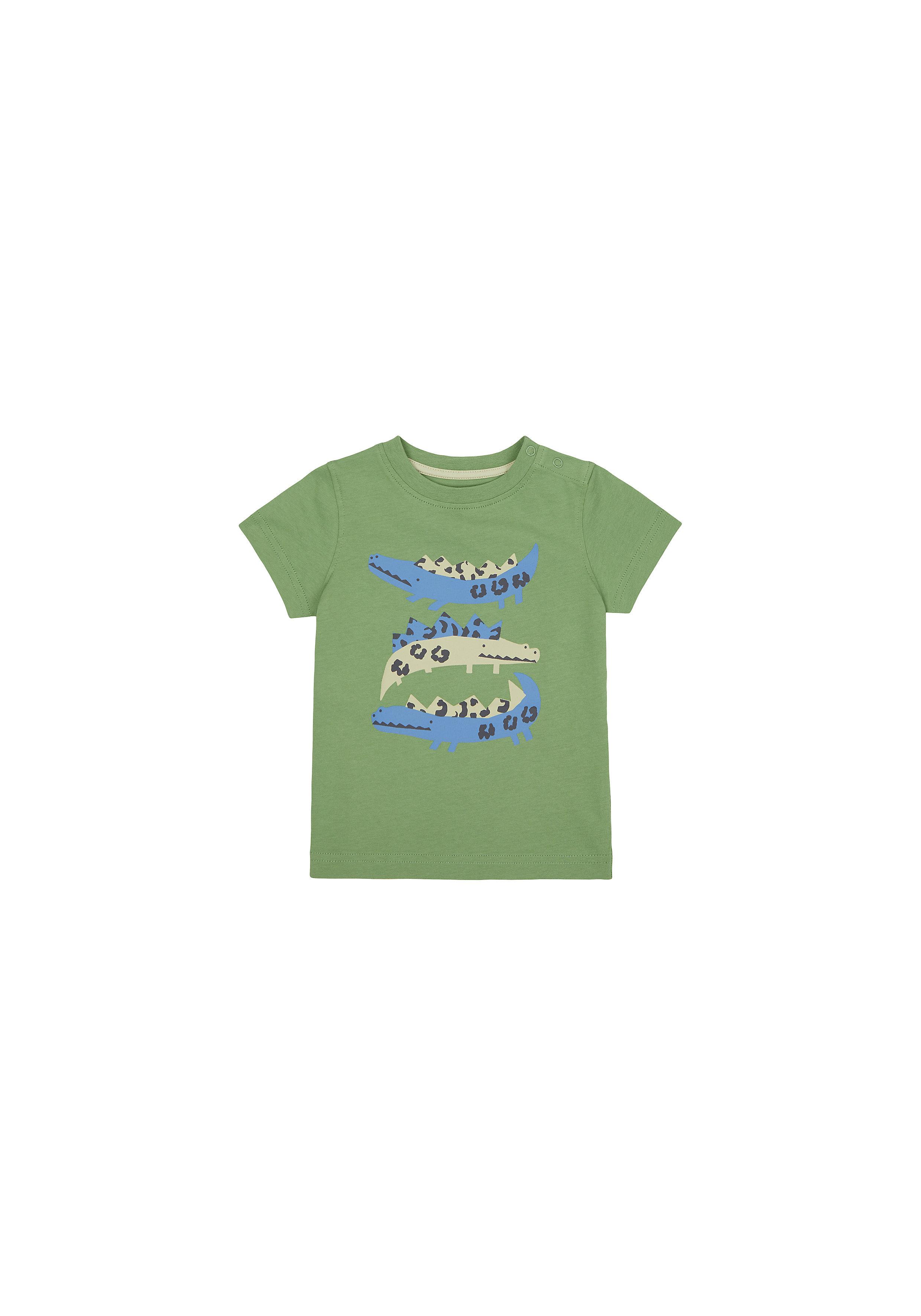 Mothercare | Boys Half Sleeves T-Shirt Crocodile Print - Khaki