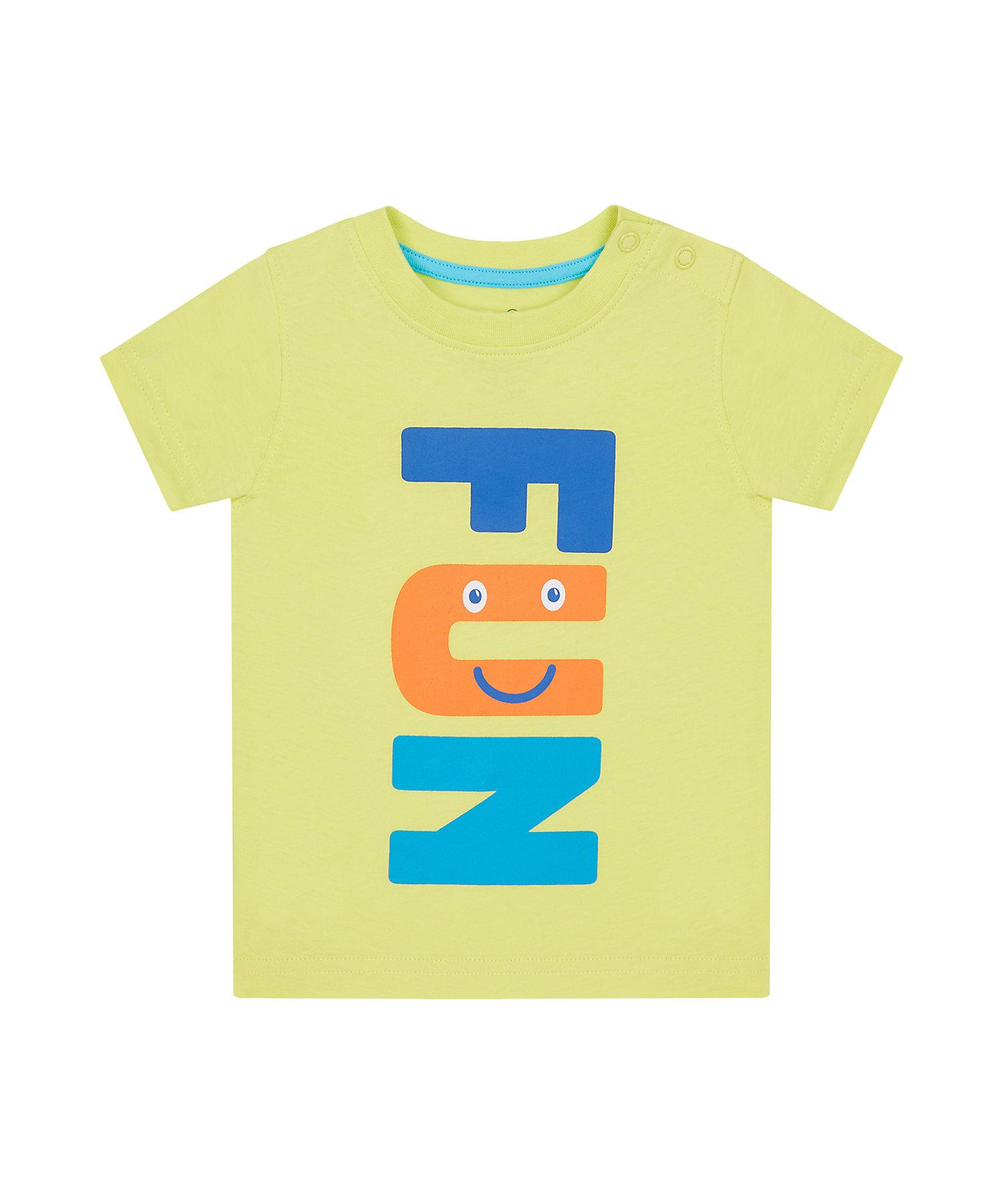 Mothercare | Boys Half Sleeves T-Shirt Text Print - Lime