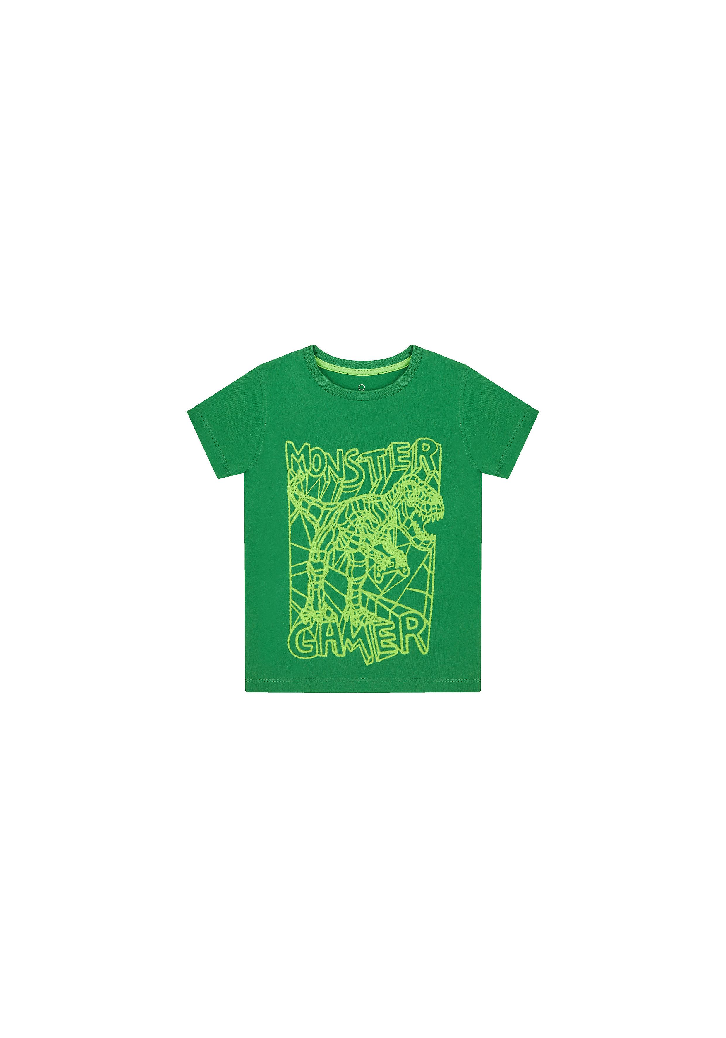 Mothercare | Boys Half Sleeves T-Shirt Dino And Text Print - Green