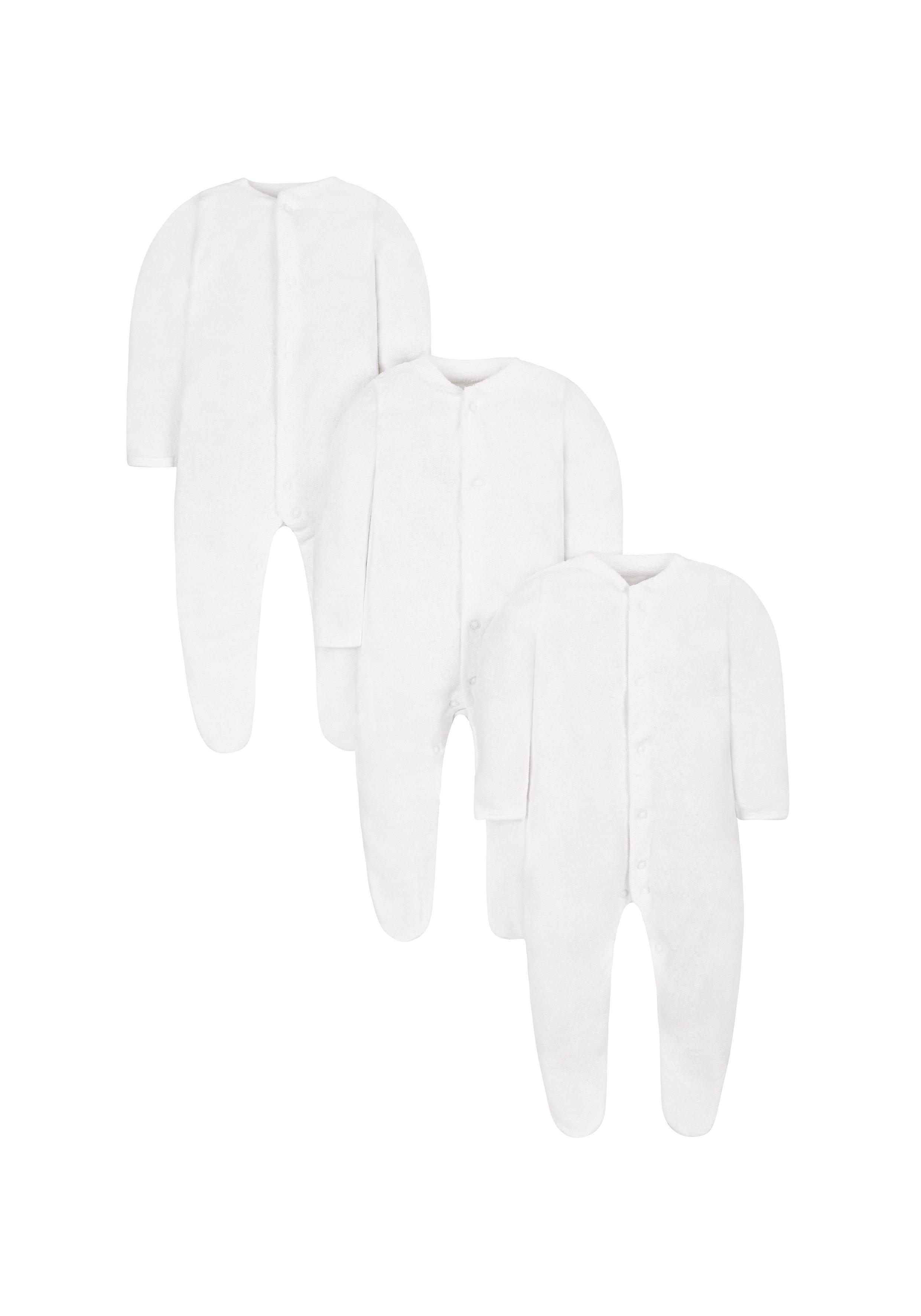 Mothercare | Unisex Full Sleeves Sleepsuit - Pack Of 3 - White