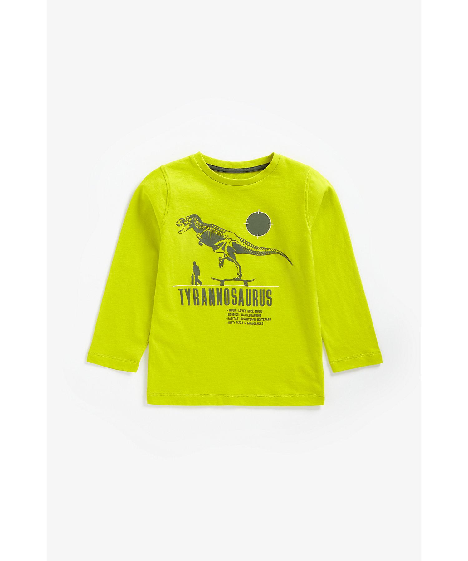 Mothercare | Boys Full Sleeves T-Shirt Dino Text Print - Yellow