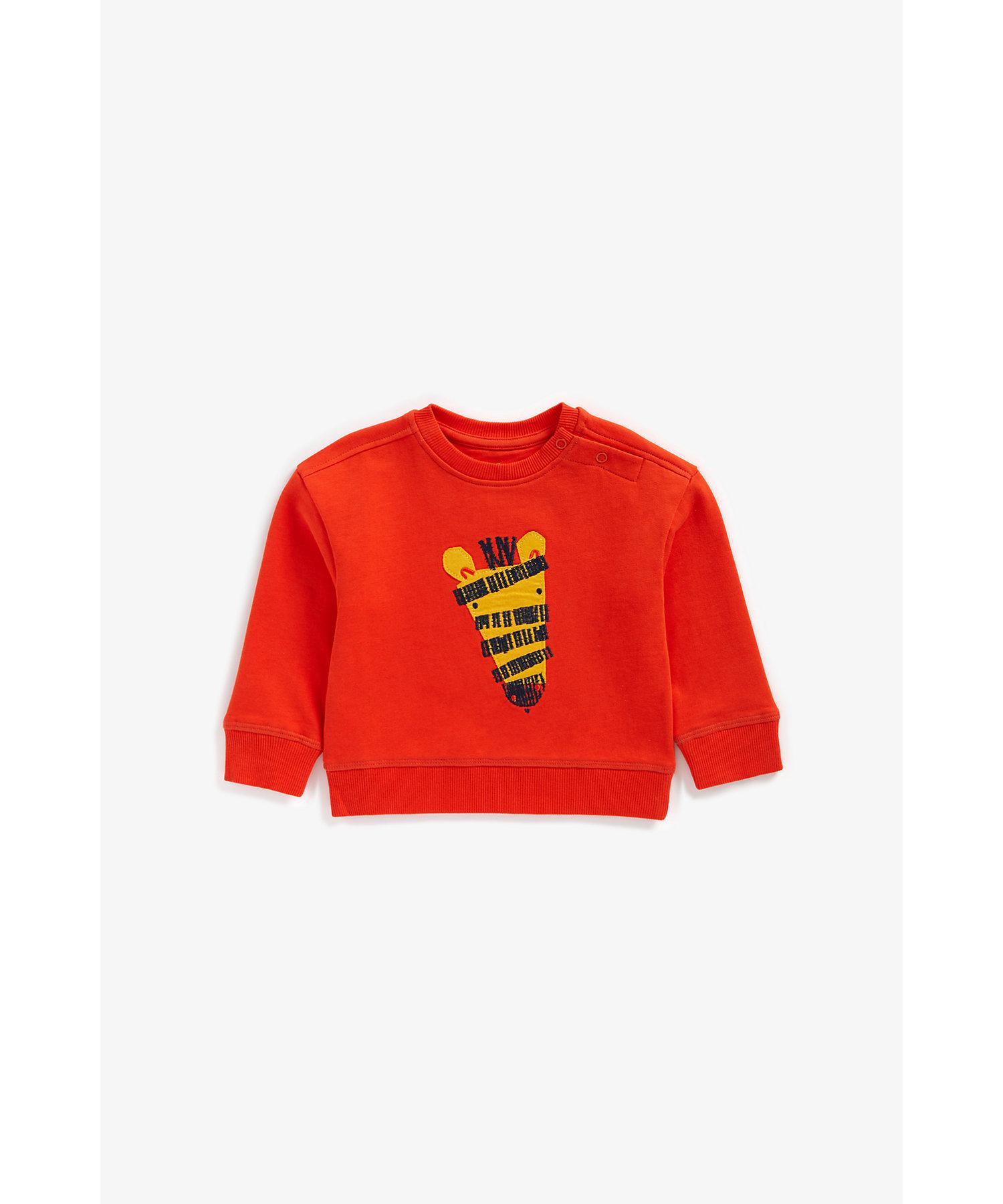 Mothercare | Boys Full Sleeves Sweatshirt Zebra Patchwork - Red