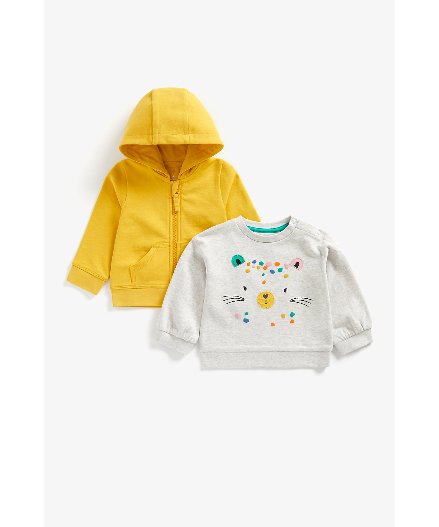 Mothercare | Girls Full Sleeves Hoody And Top Set Cat Patchwork - Yellow