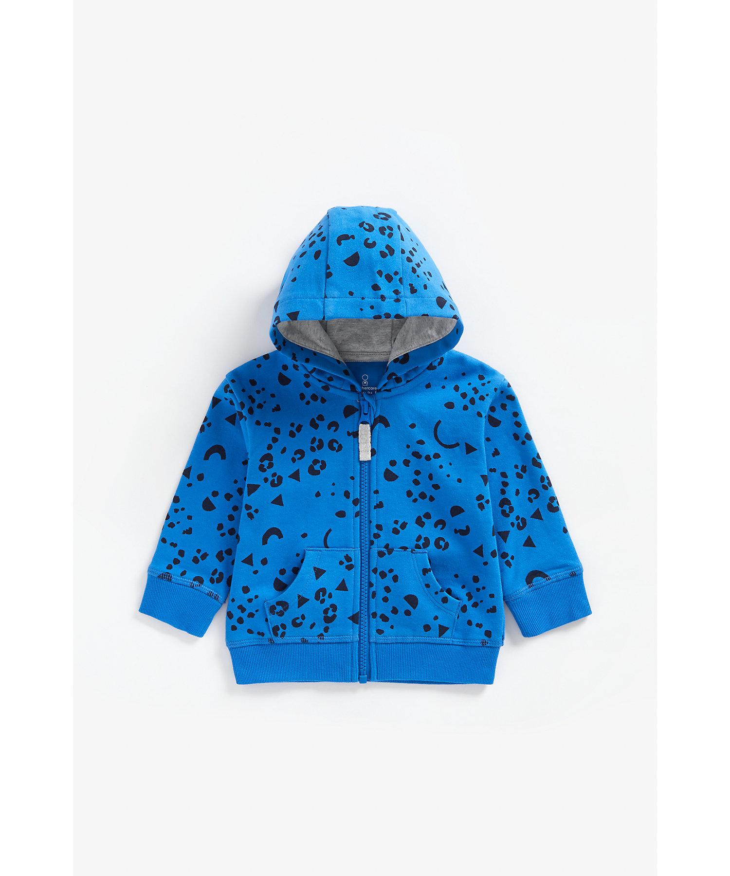 Mothercare | Boys Full Sleeves Hooded Sweatshirt Leopard Print - Blue