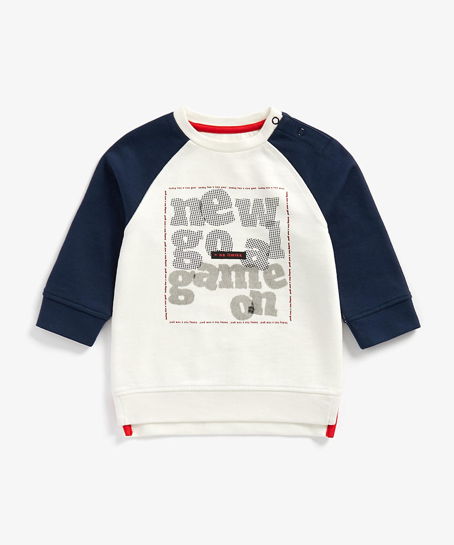 Mothercare | Boys Full Sleeves Sweatshirt Slogan Print - White