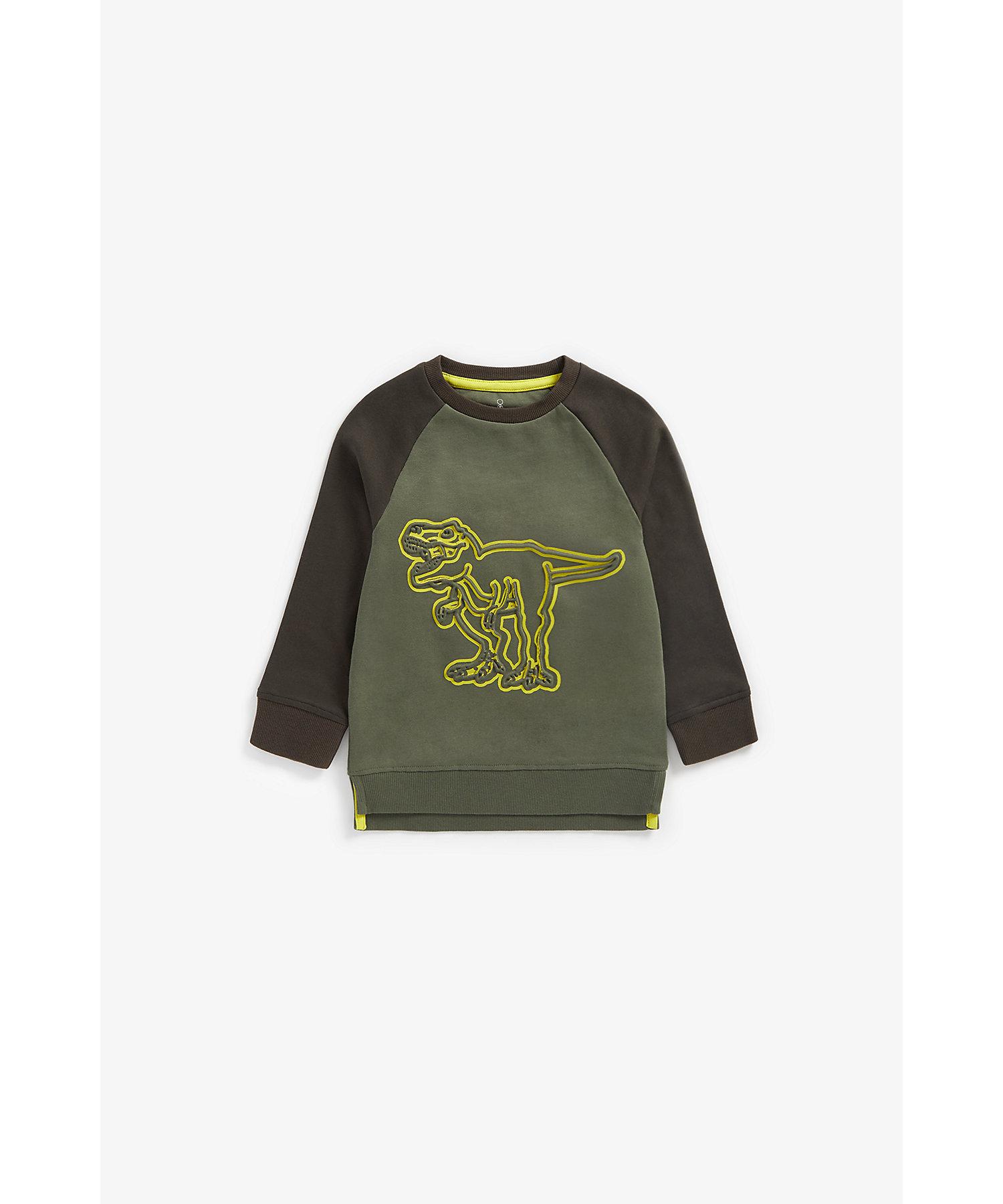 Mothercare | Boys Full Sleeves Sweatshirt Embossed Dino Design - Grey