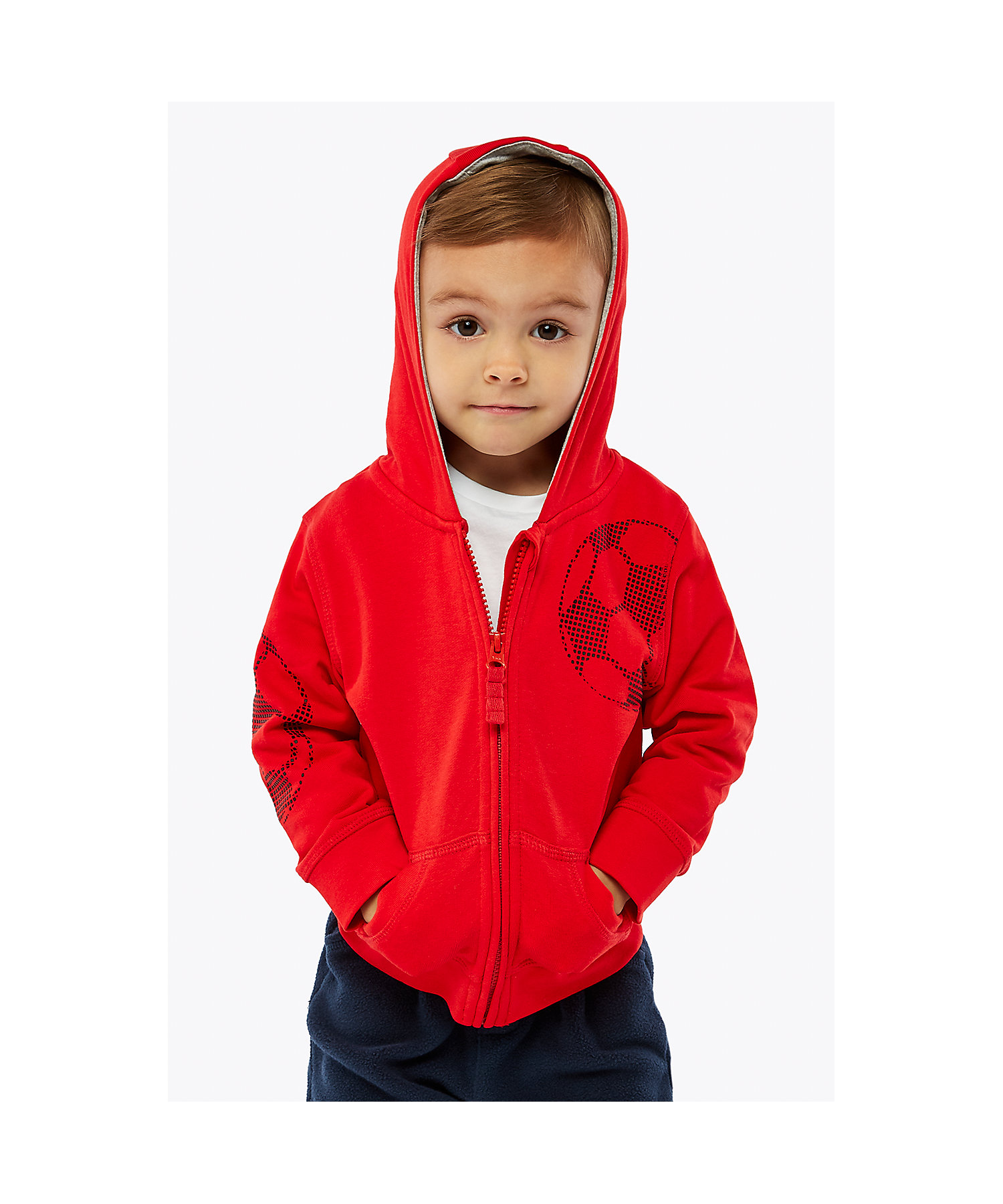Mothercare   Boys Full Sleeves Hooded Sweatshirt Football Print - Red
