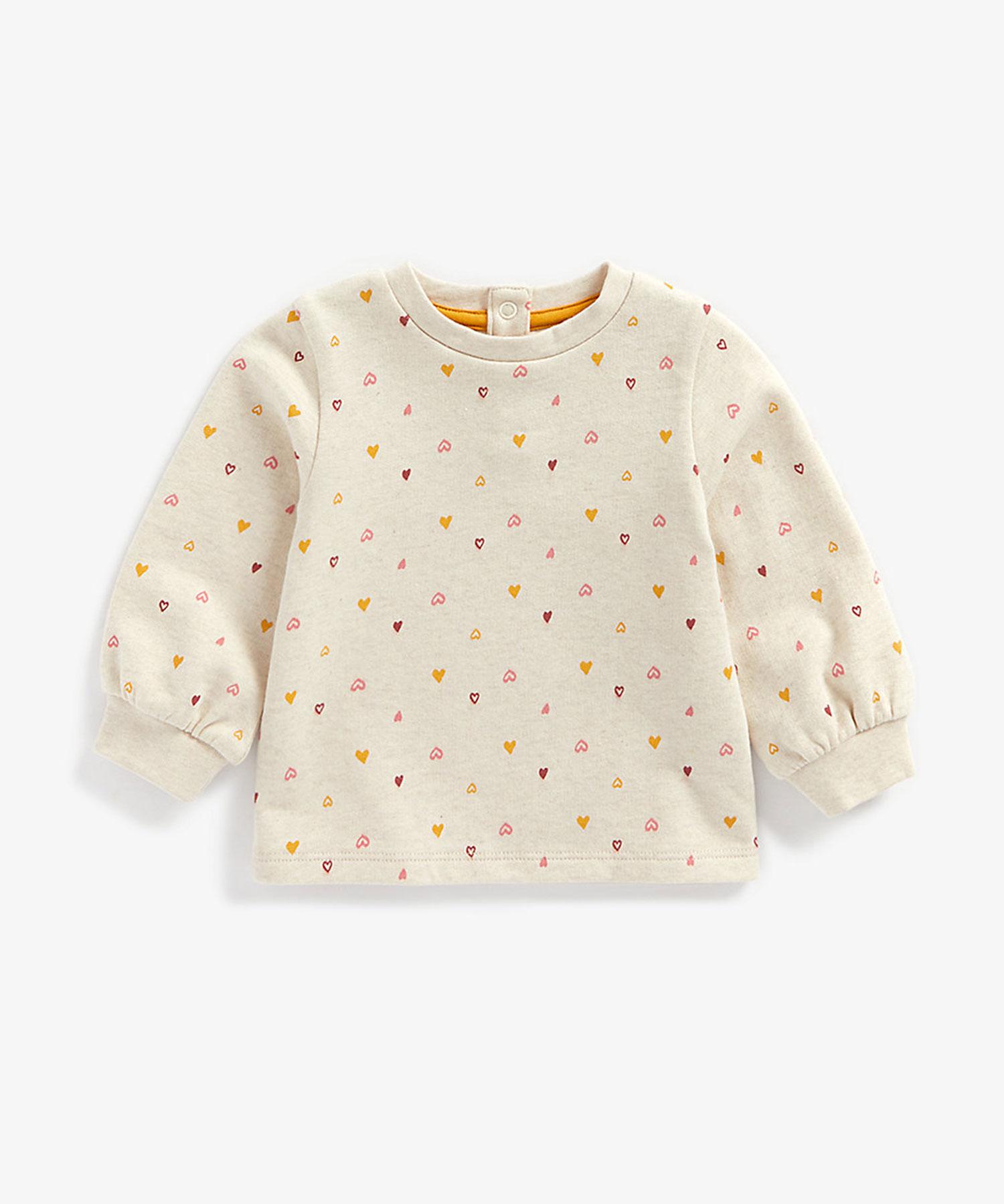 Mothercare | Girls Full Sleeves Sweatshirt Heart Print - Beige