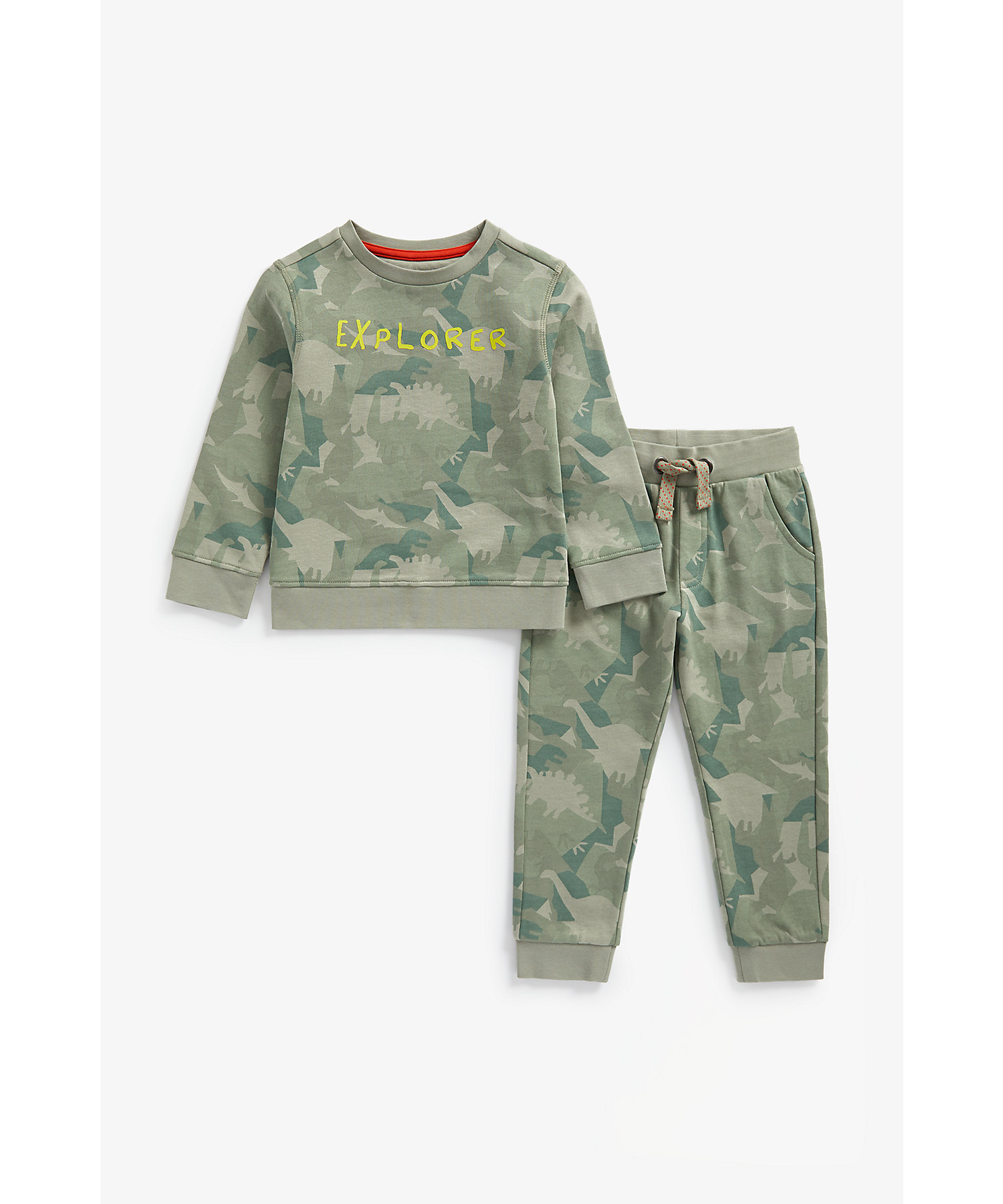 Mothercare | Boys Full Sleeves Jog Set Dino Camouflage Print - Green